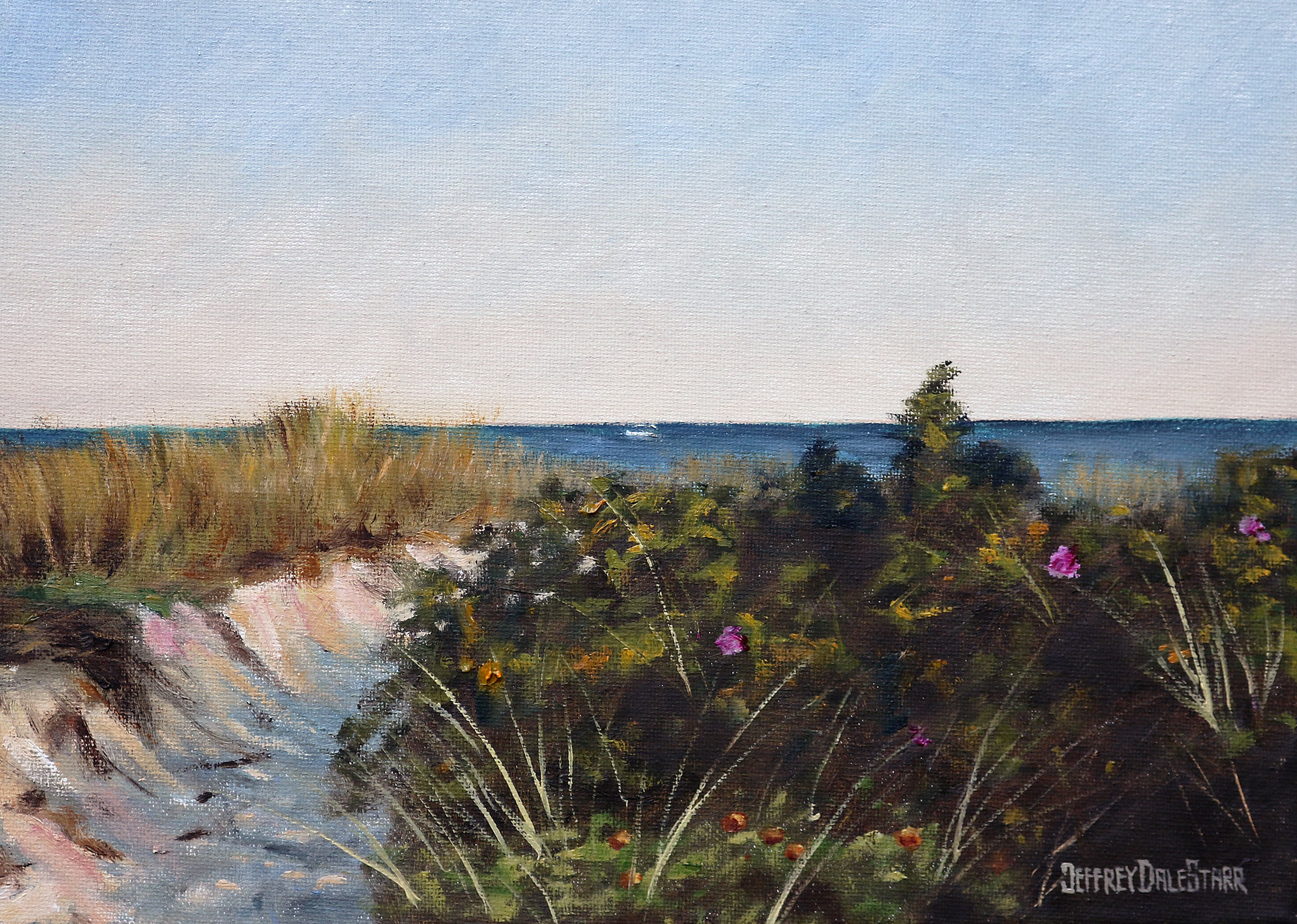 20181111 oil painting of entering dowses beach cape cod by american artist jeffrey dale starr