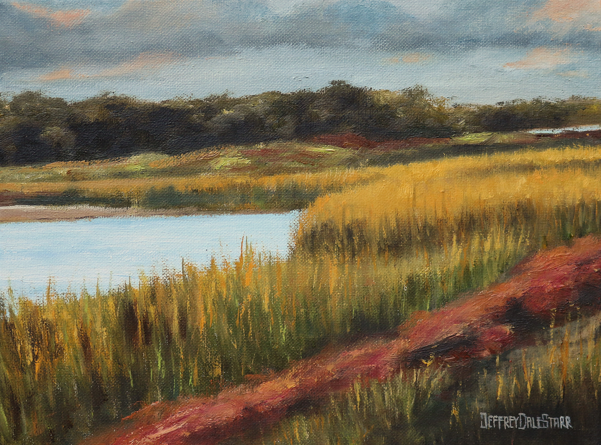 20181111 oil painting of grasses of dowses beach cape cod by american artist jeffrey dale starr