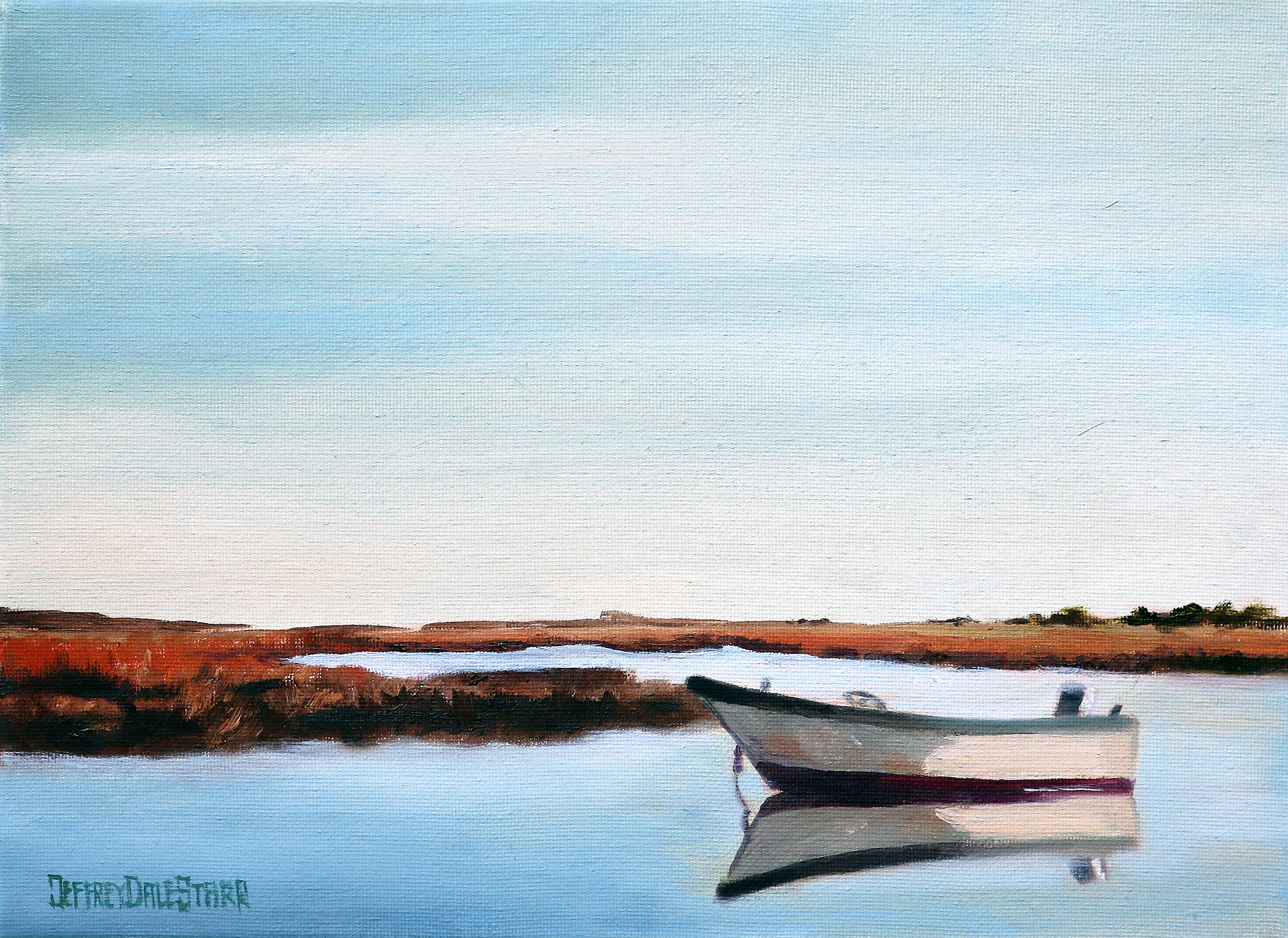 20181111 oil painting of morning on the marsh boat cape cod by american artist jeffrey dale starr
