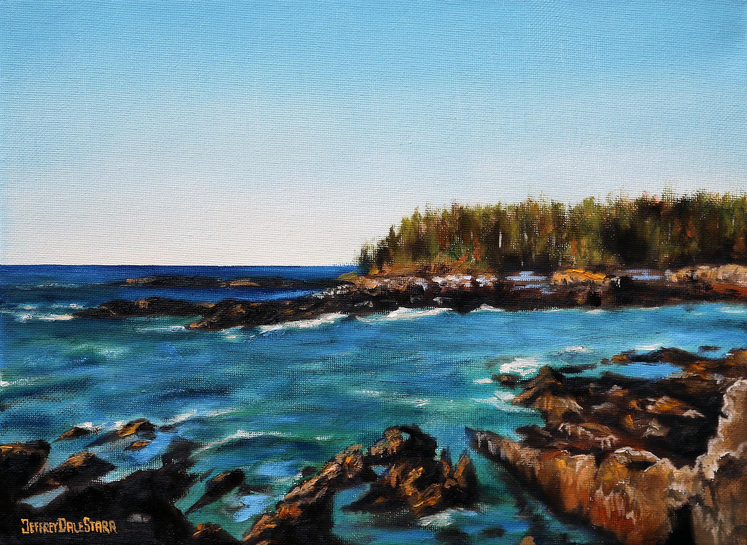 oil painting of rocky maine coastline by american artist jeffrey dale starr