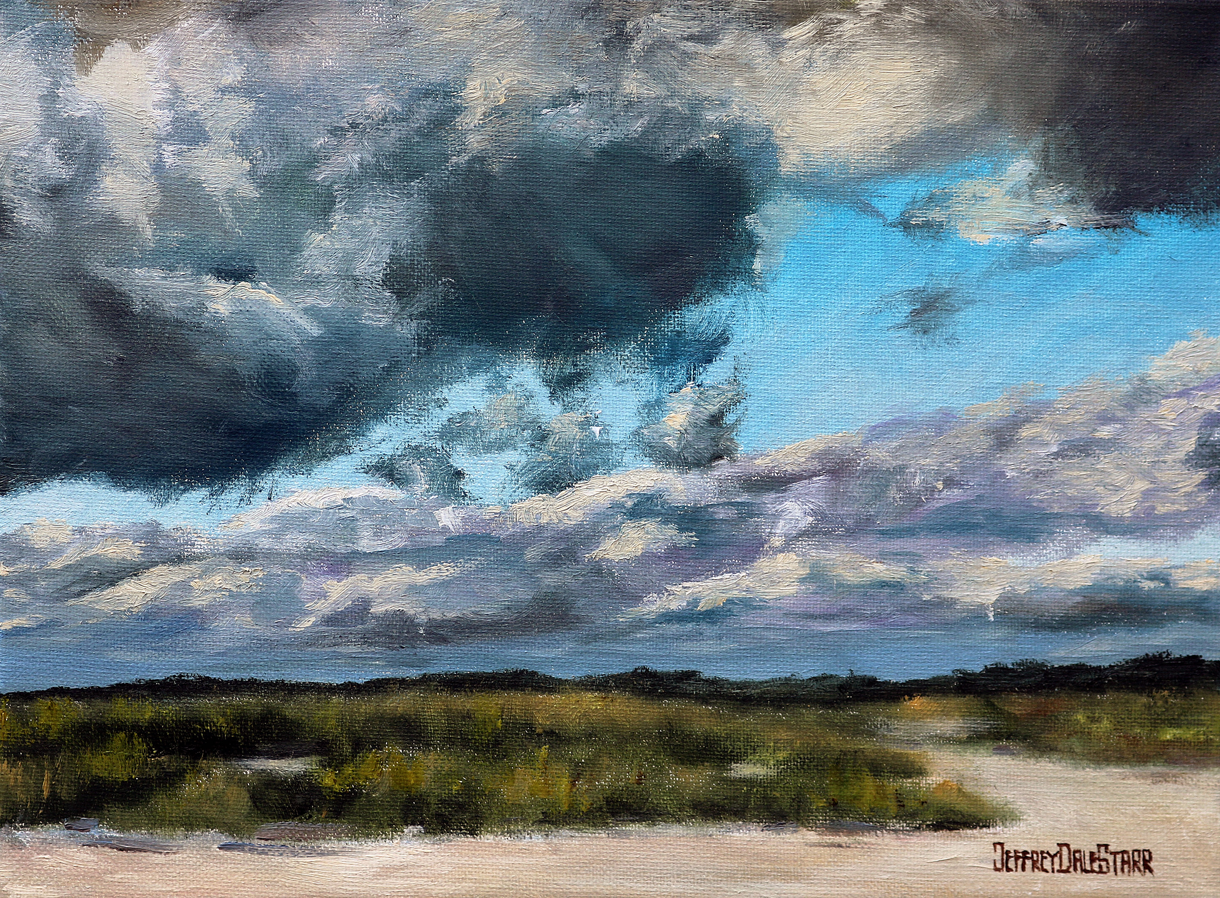 oil painting of storm rolling over beach on cape cod by american artist jeffrey dale starr