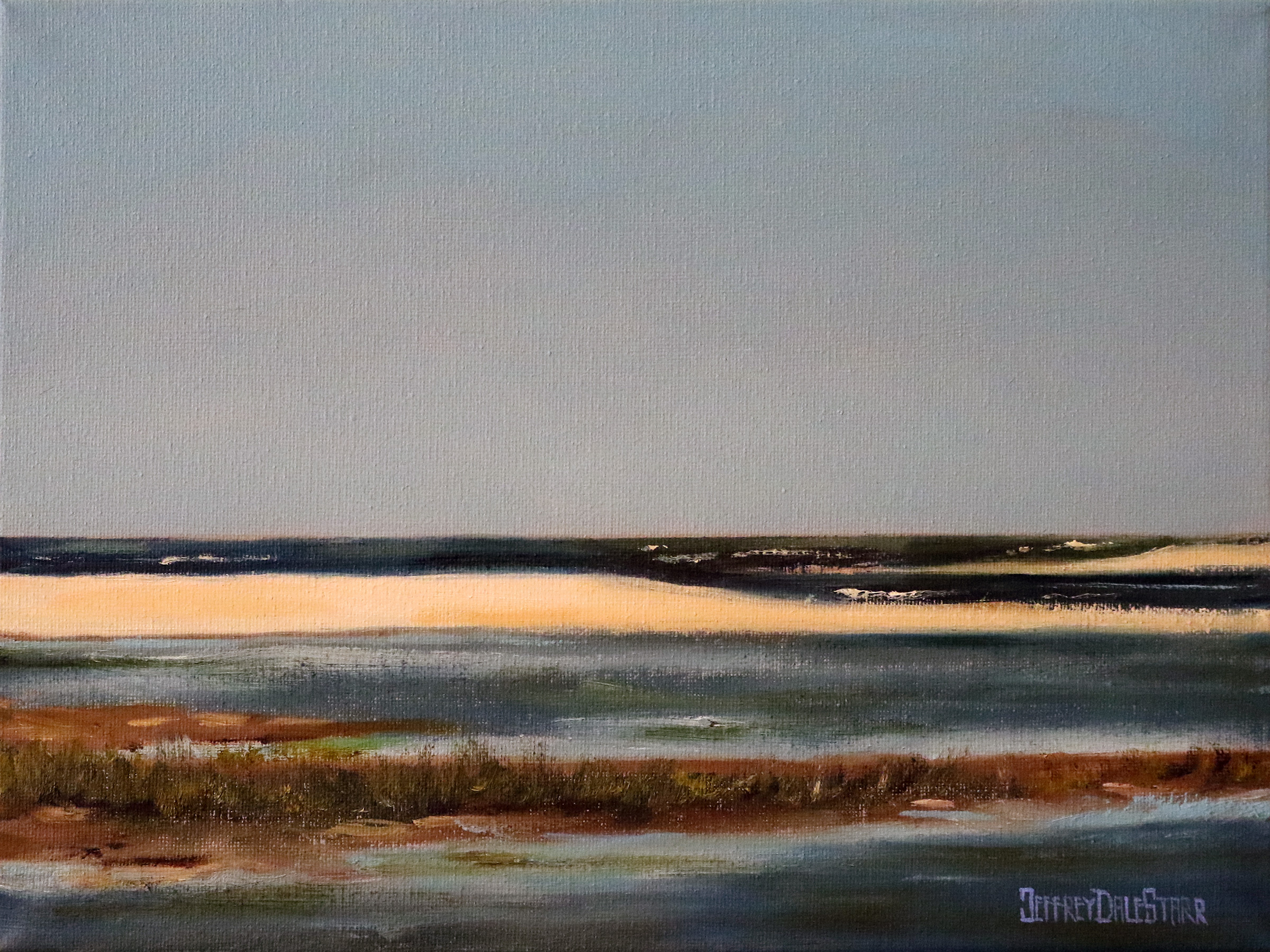 oil painting of clear sky over chatham bars cape cod by american artist jeffrey dale starr