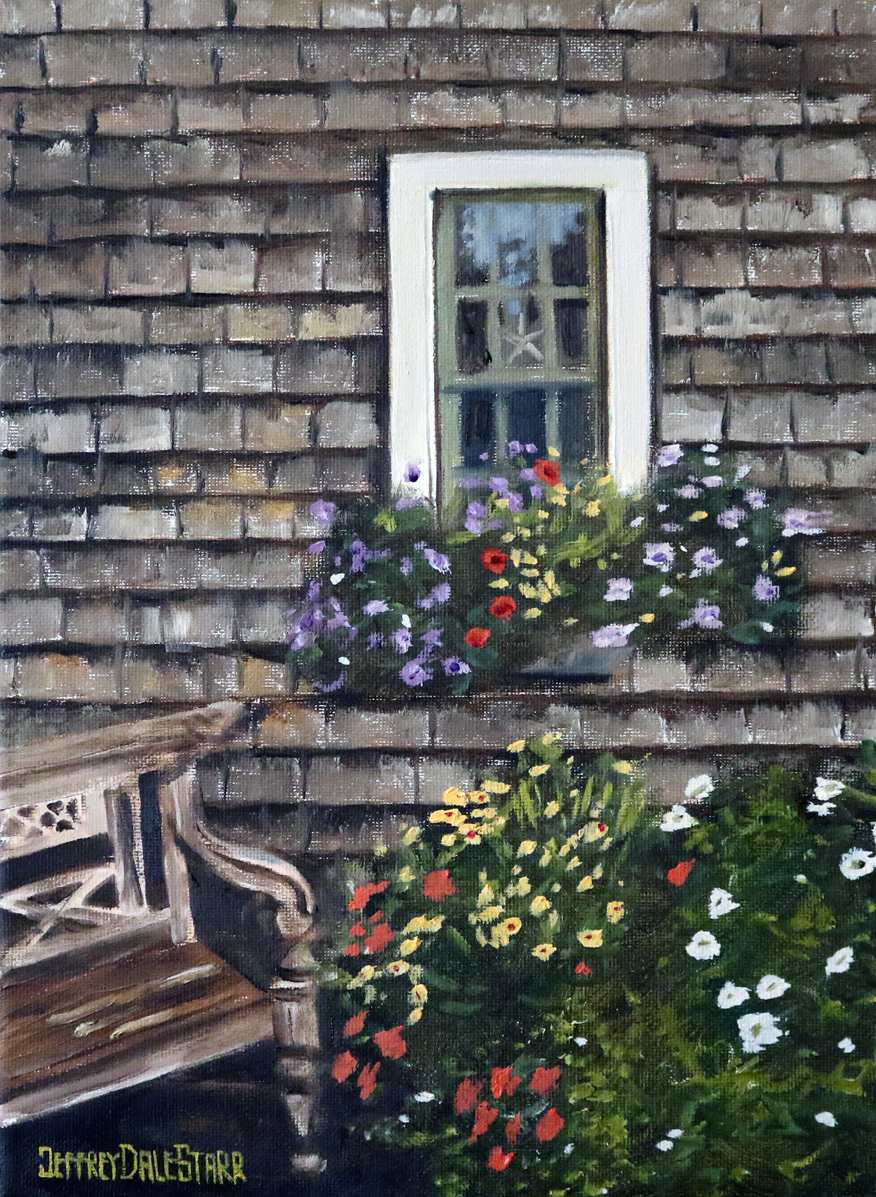 oil painting of patio of flowers on cape cod by american artist jeffrey dale starr