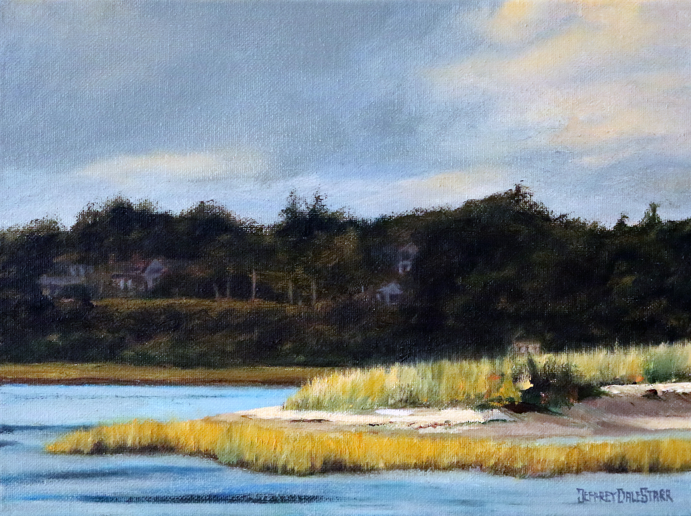 oil painting of when the sunbeam hit the island cape cod by american artist jeffrey dale starr