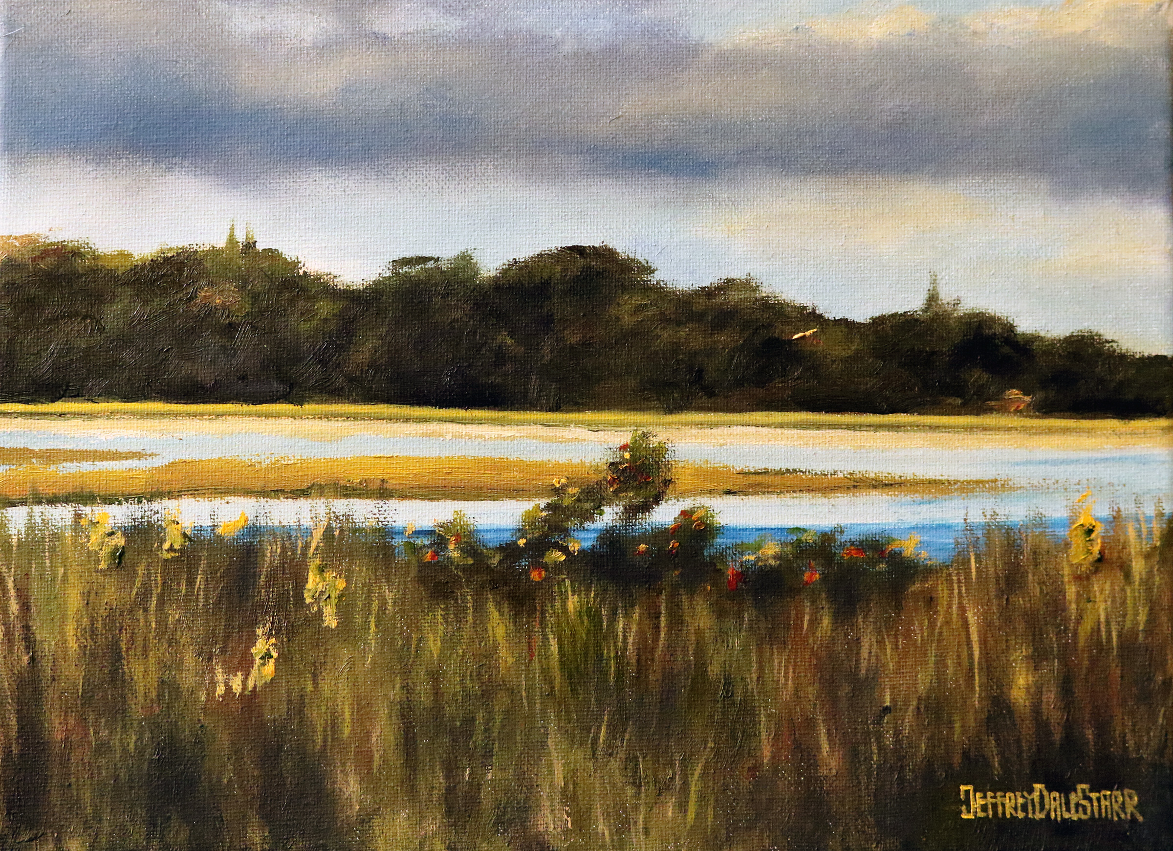oil painting of grassy trail on cape cod beach by american artist jeffrey dale starr
