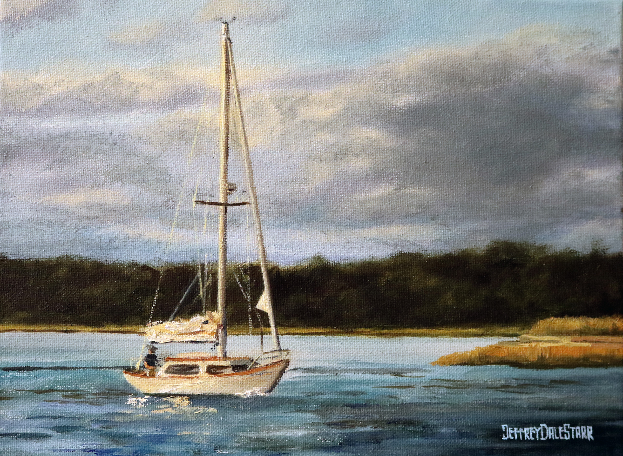 Sailboat Off Nantucket Sound by Jeffrey Dale Starr