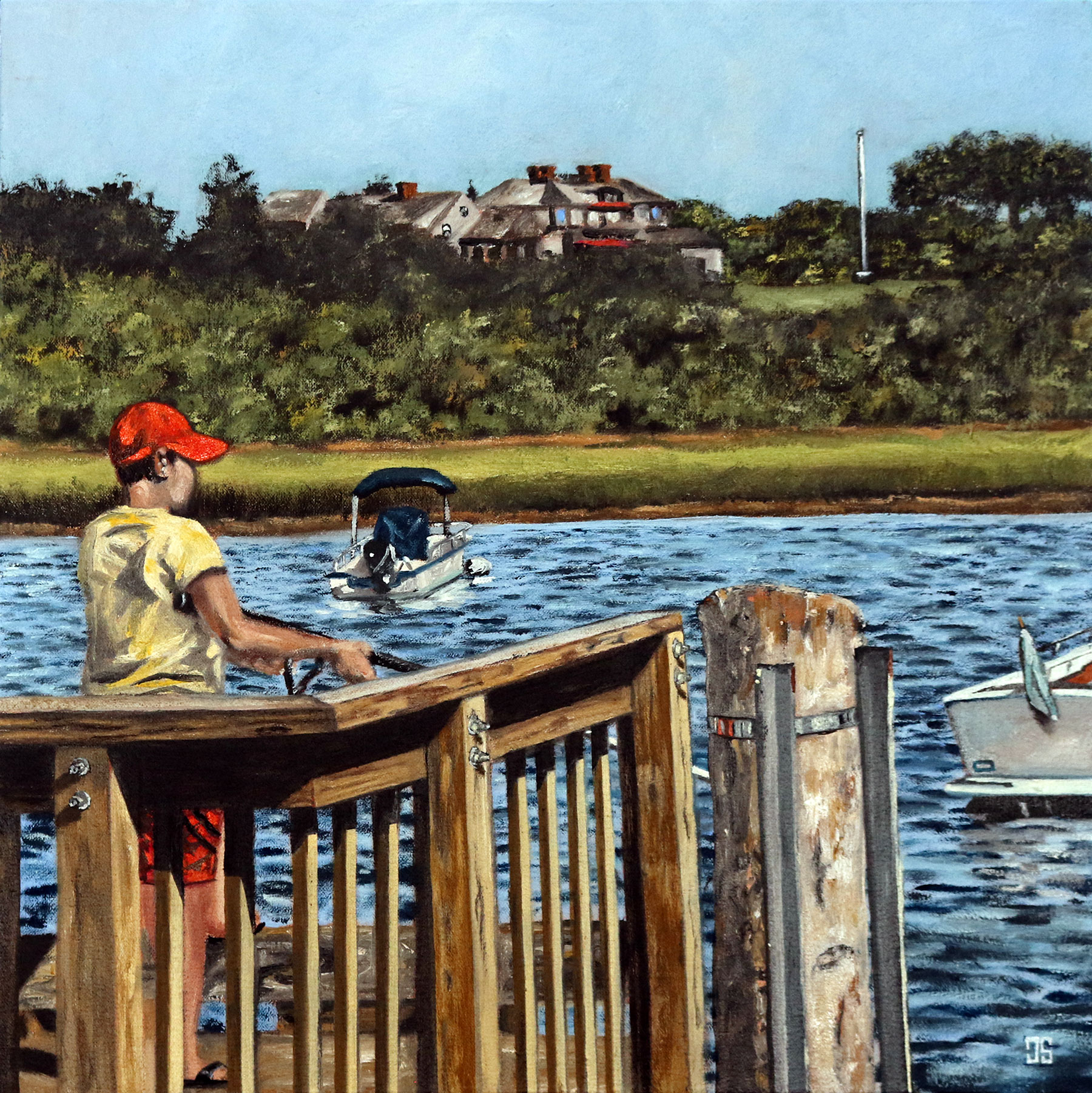 Oil Painting of Boy Fishing in Chatham Cape Cod MA by Jeffrey Dale Starr