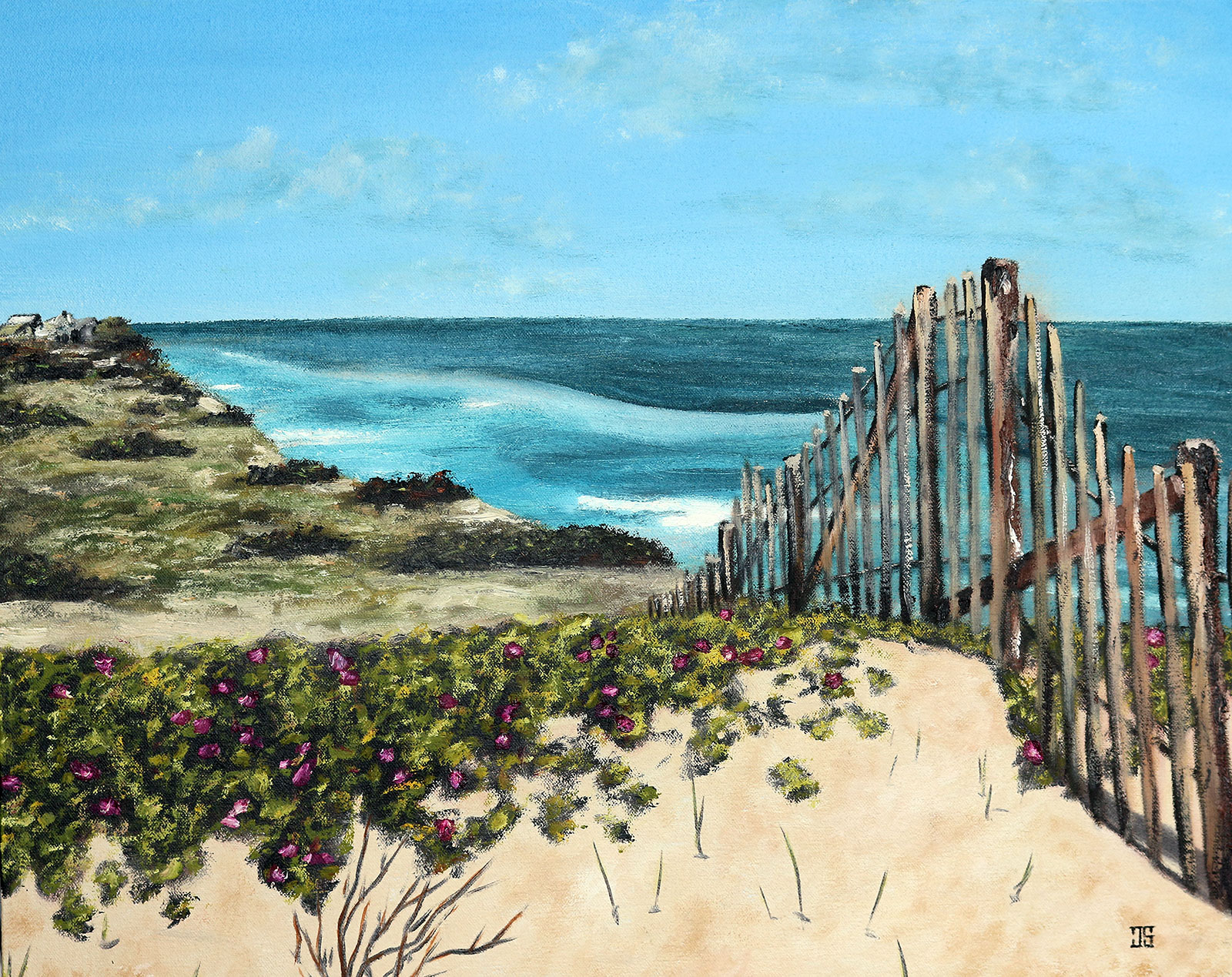 "Oil painting ""Beach Roses in South Wellfleet"" by Jeffrey Dale Starr"