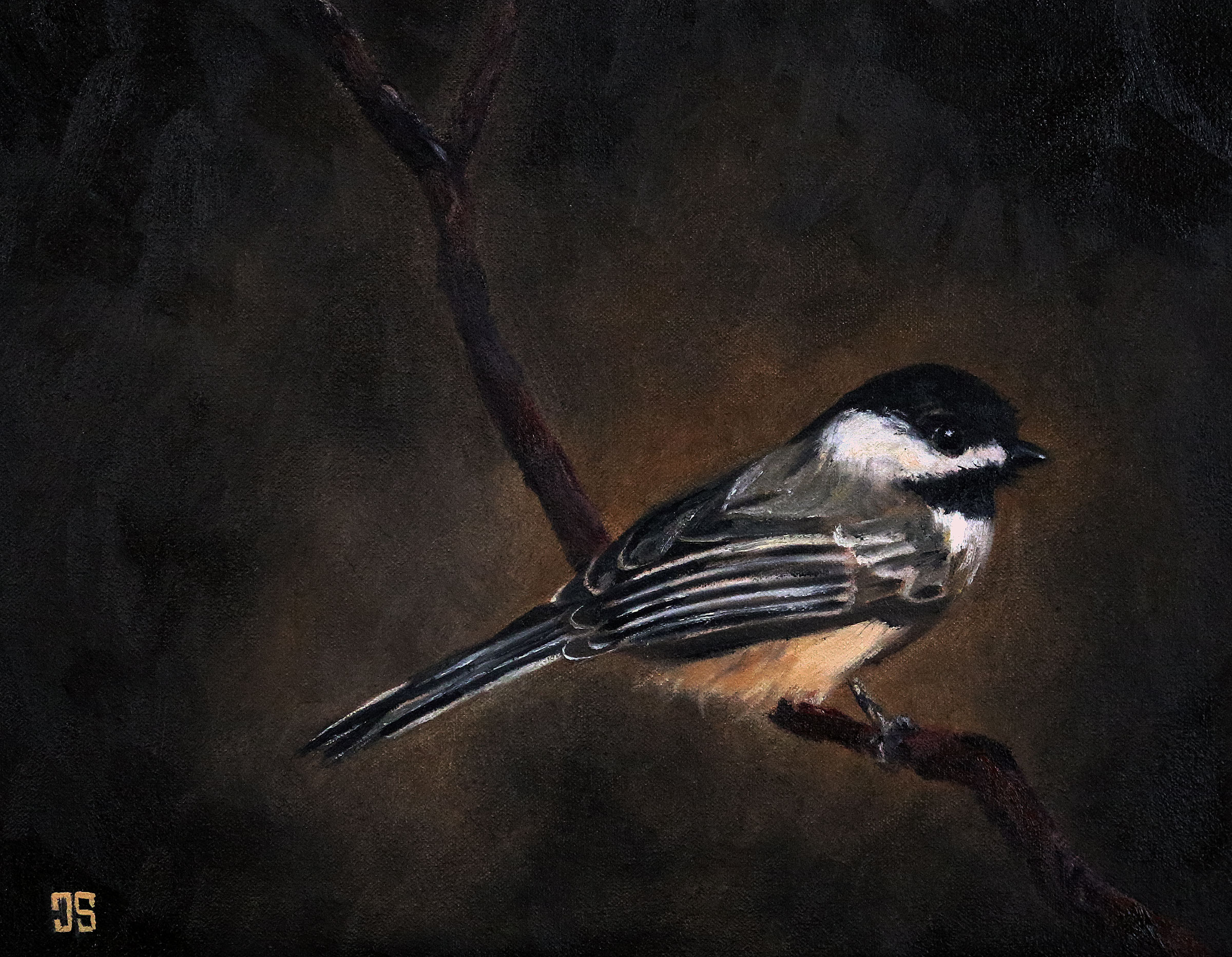 "Oil painting ""Birds of Cape Cod: Black-Capped Chickadee"" by Jeffrey Dale Starr"