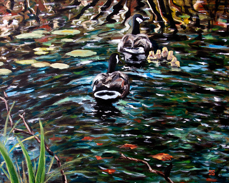 Oil Painting of Canada Geese on Cape Cod by Jeffrey Dale Starr