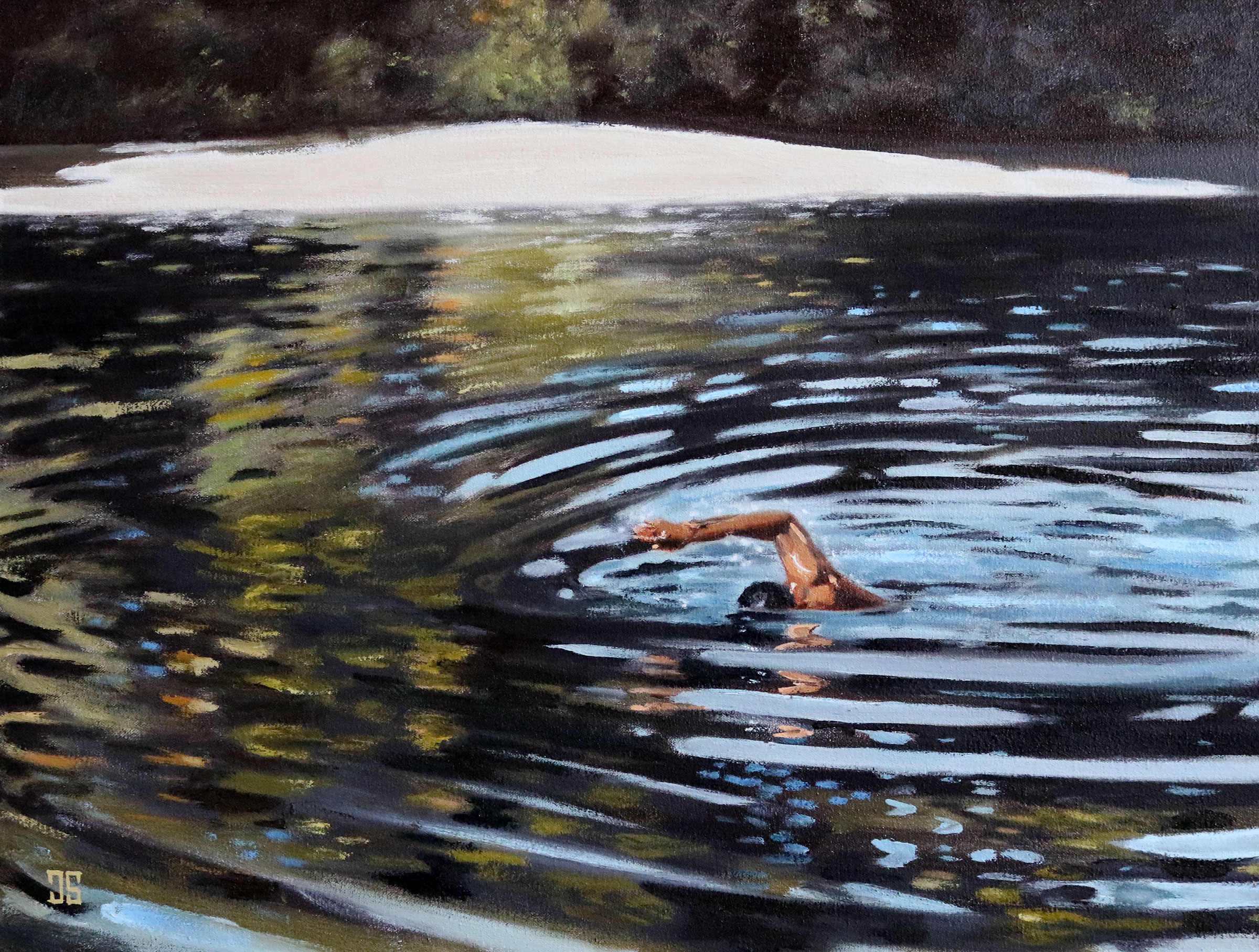 Oil Painting of early morning walden pond swimmer MA by Jeffrey Dale Starr