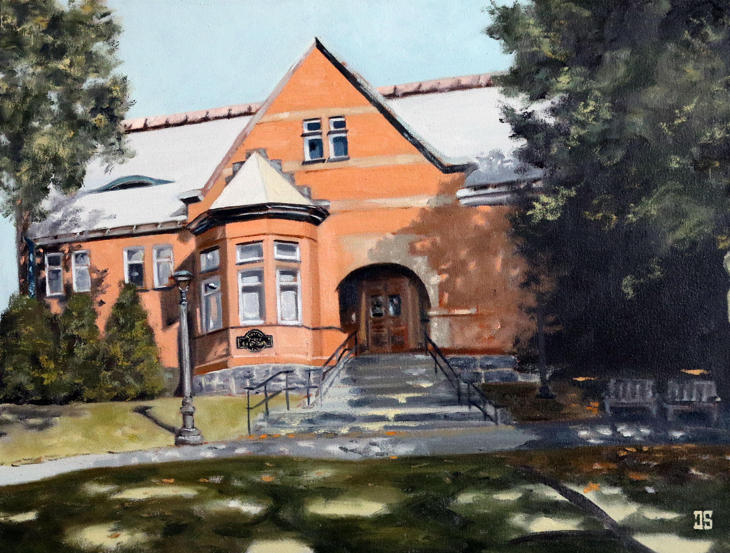 Oil Painting of Eldredge Public Library Chatham Cape Cod MA by Jeffrey Dale Starr