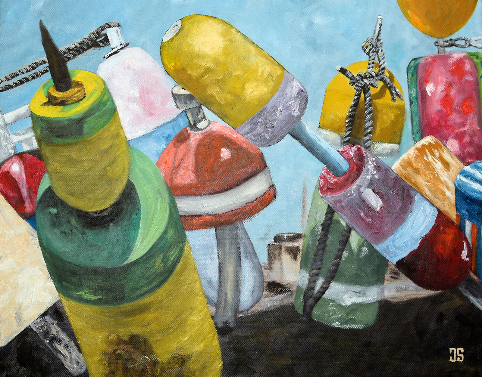 Oil Painting of Fishing Buoys in Provincetown Cape Cod MA by Jeffrey Dale Starr