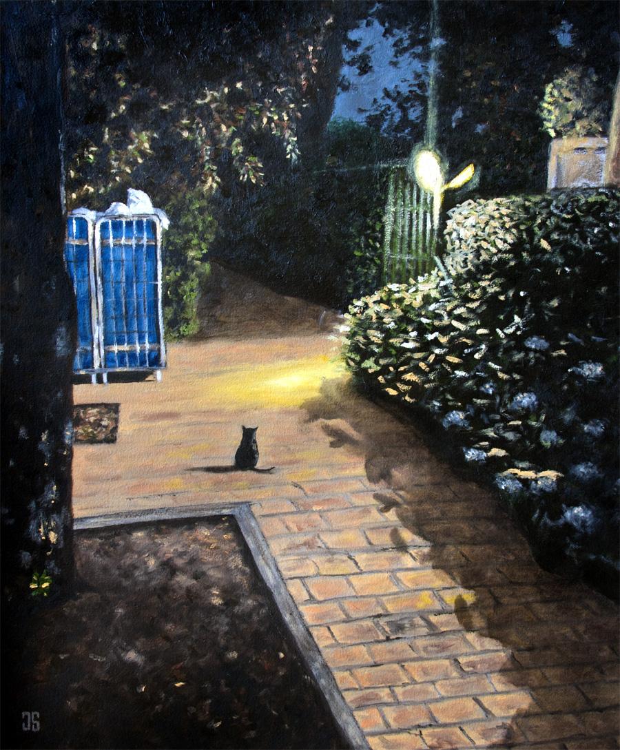 Oil Painting of Il Gatto Nero Della Toscana black cat Tuscany by Jeffrey Dale Starr