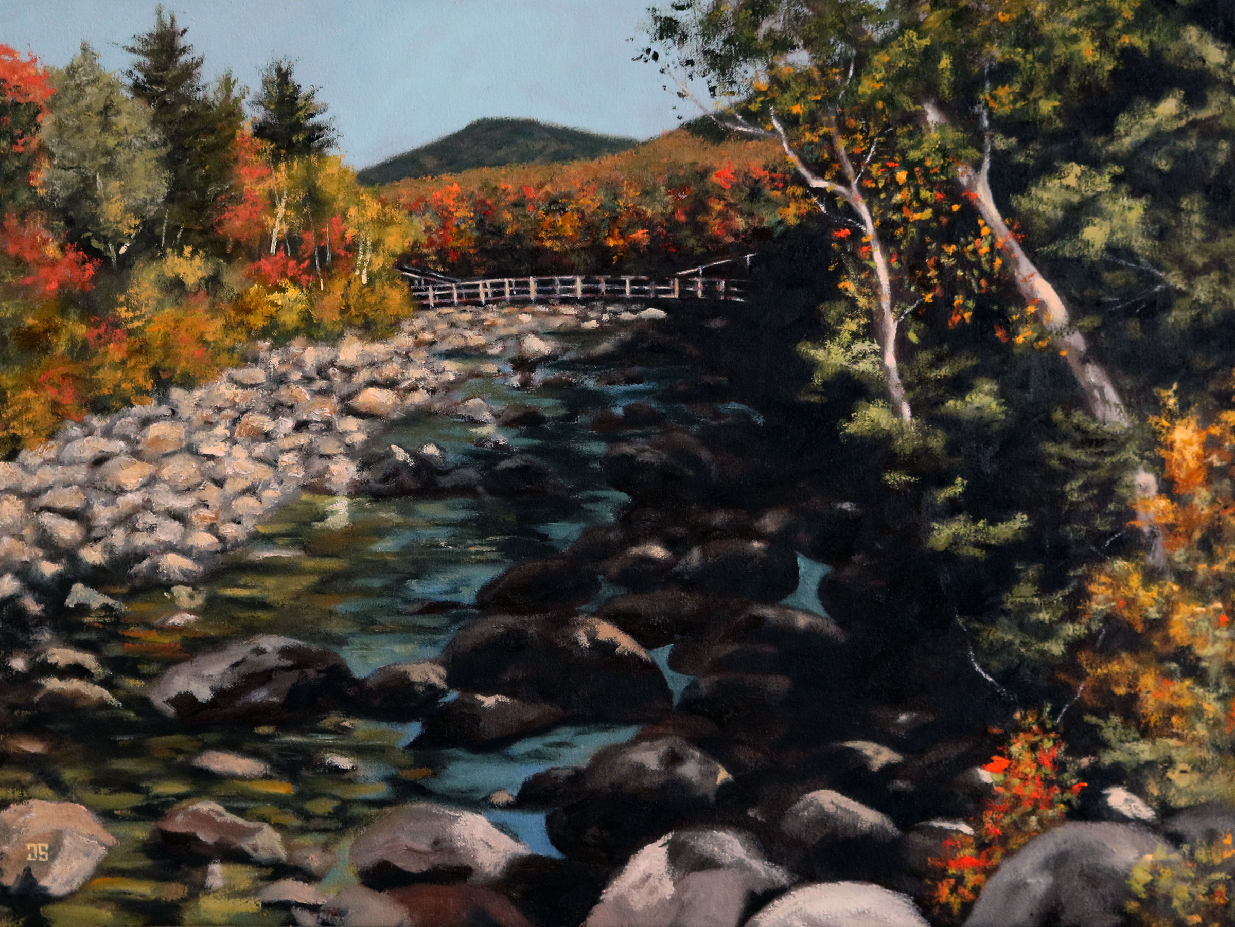 Oil painting of Lincoln Woods White Mountain National Forest New Hampshire by Jeffrey Dale Starr