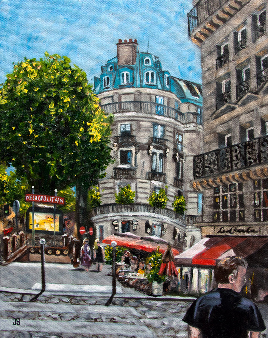 Oil Painting of Paris and Metropolitain Station by Jeffrey Dale Starr