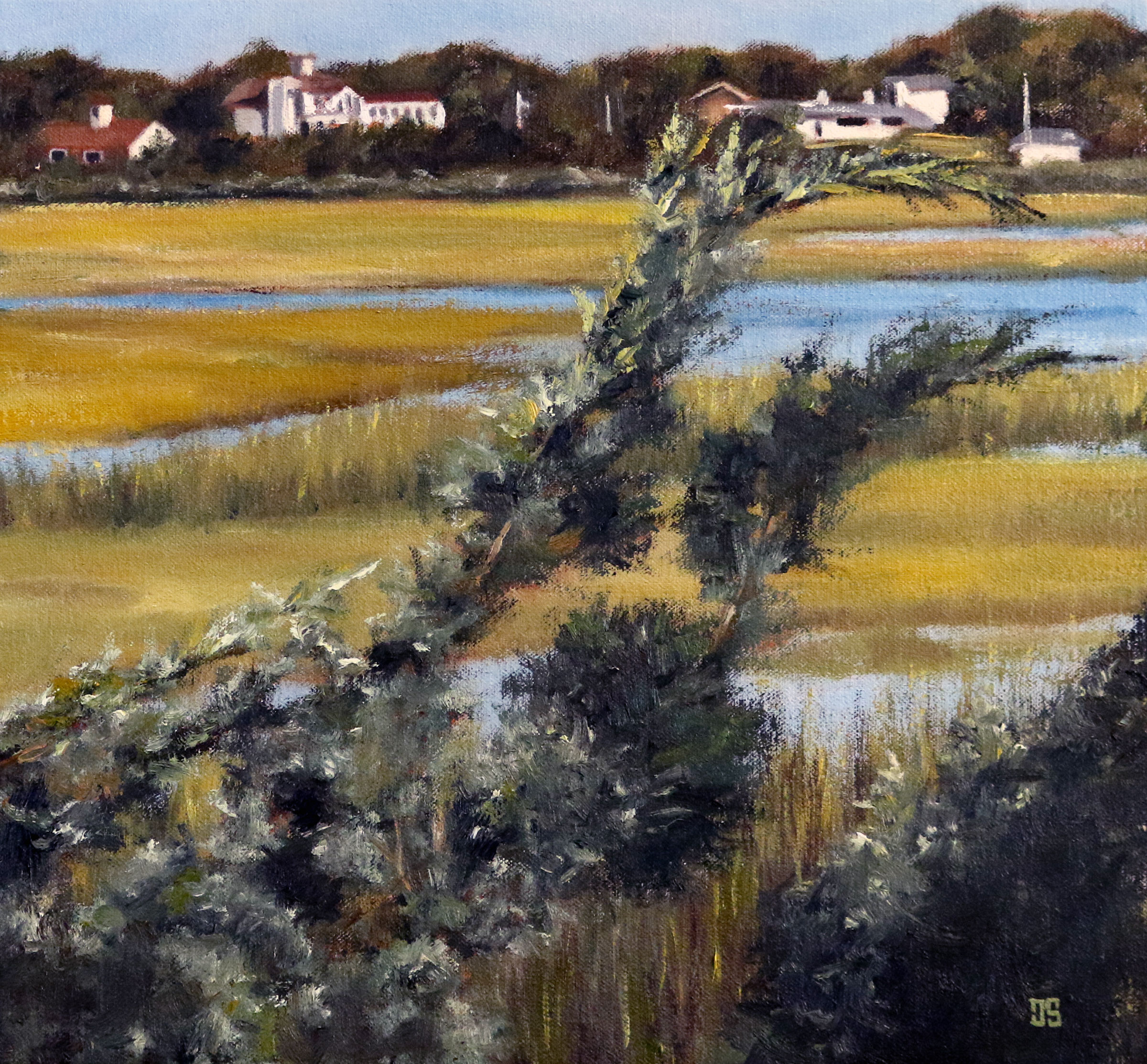 Oil painting of Bourne Marsh Cape Cod by Jeffrey Dale Starr
