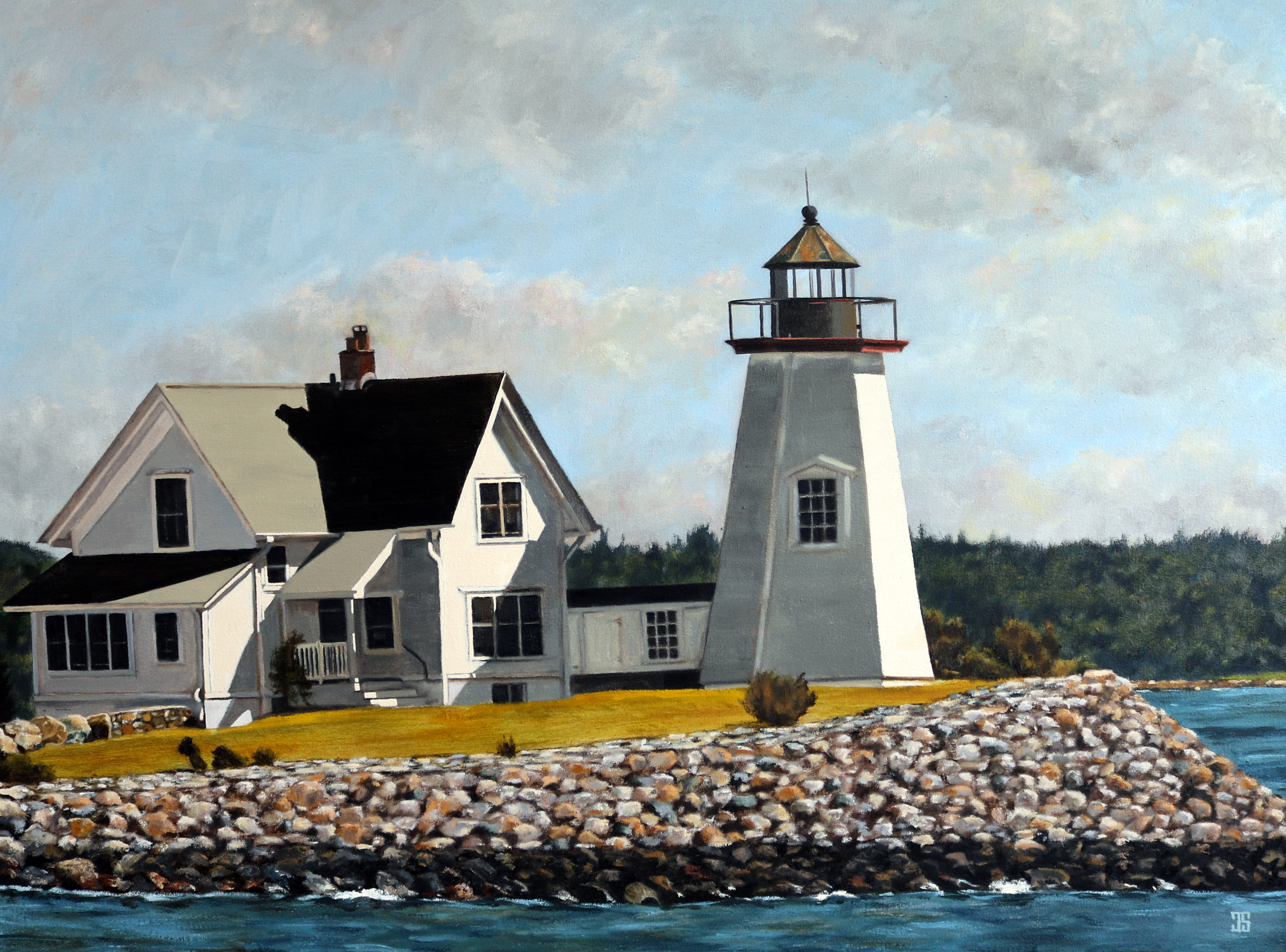 "Oil painting ""Wings Neck Lighthouse"" by Jeffrey Dale Starr"