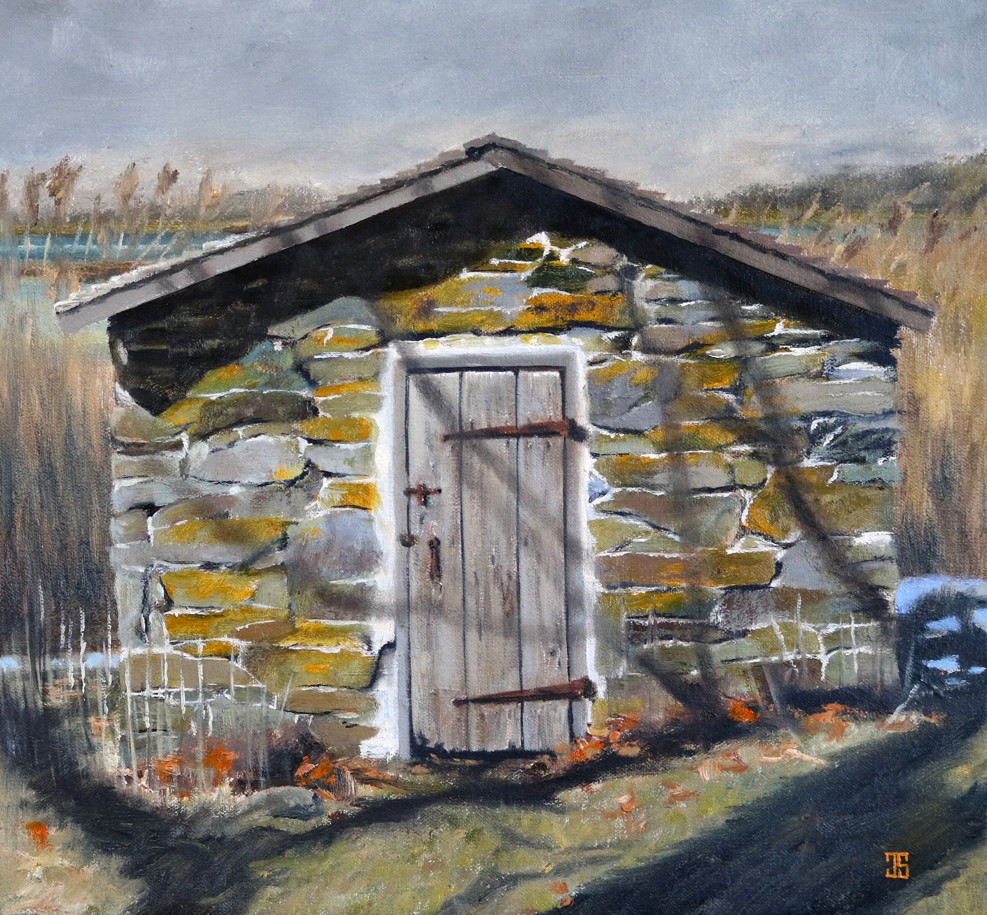 Oil painting of old house where the tiger lives by Jeffrey Dale Starr