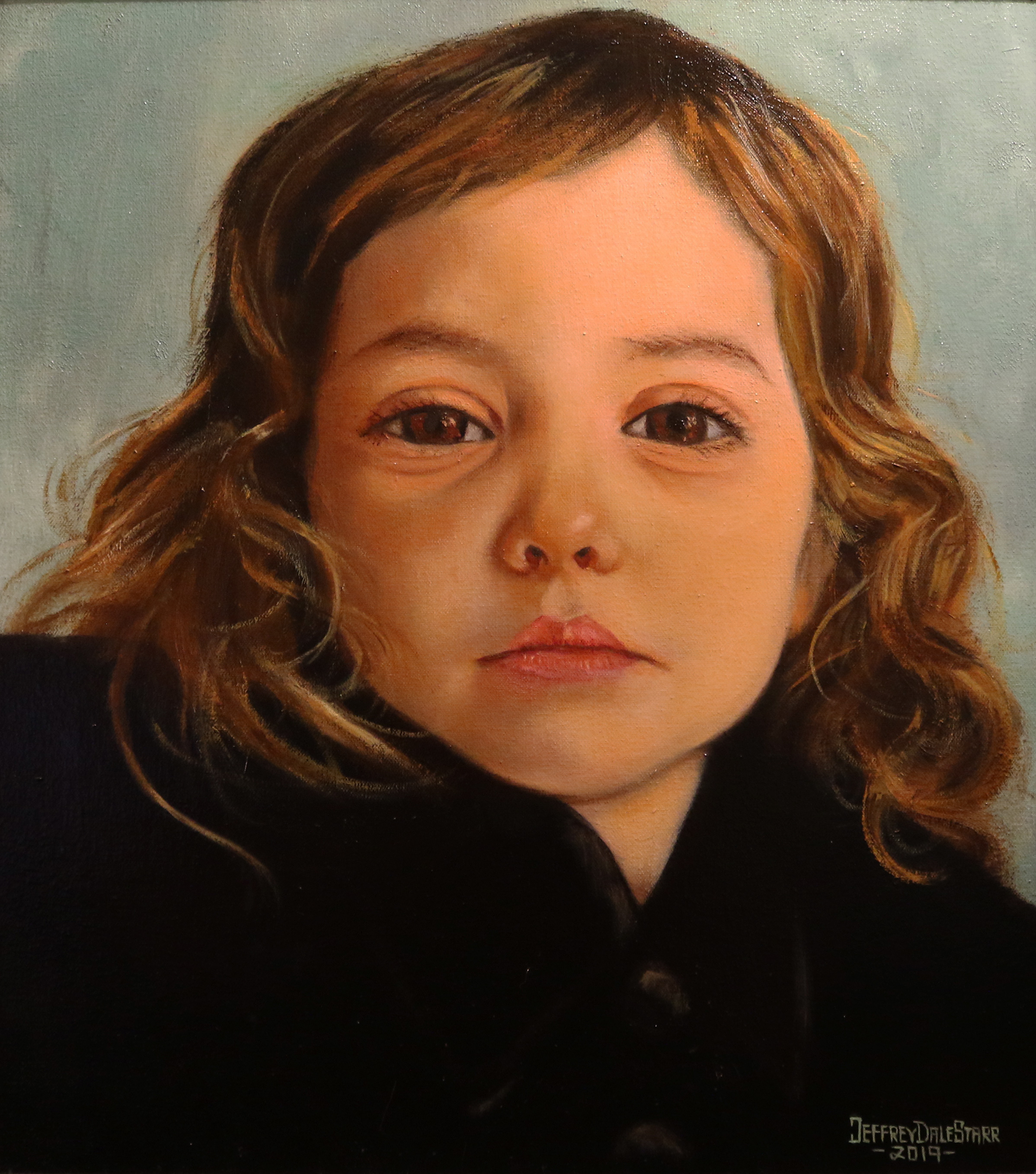 Oil painting portrait of little girl Luna by Jeffrey Dale Starr