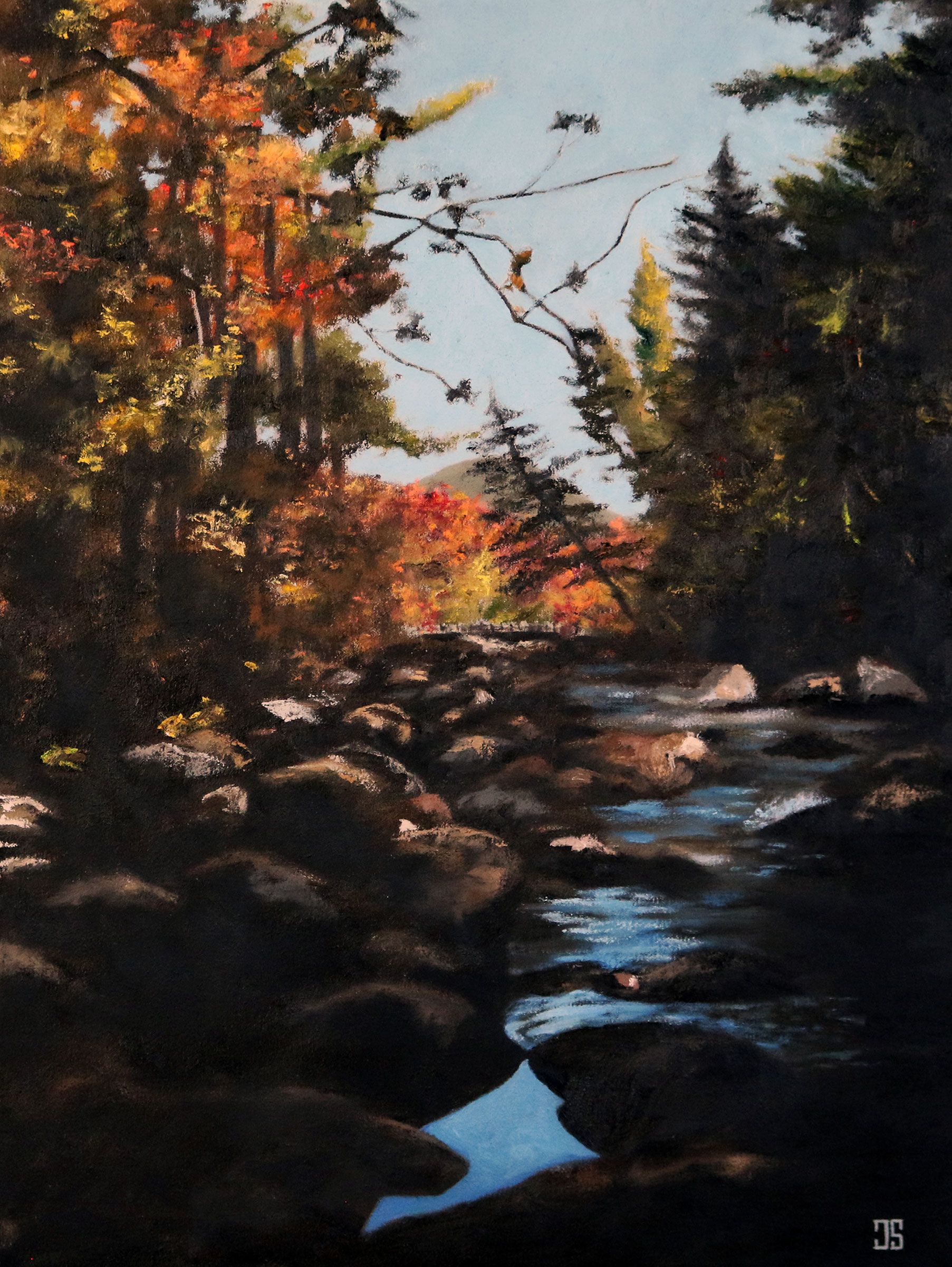Oil painting of Otter Rocks White Mountain National Forest New Hampshire by Jeffrey Dale Starr