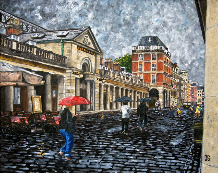 "Oil painting ""Rainy Afternoon in Covent Garden"" by Jeffrey Dale Starr"