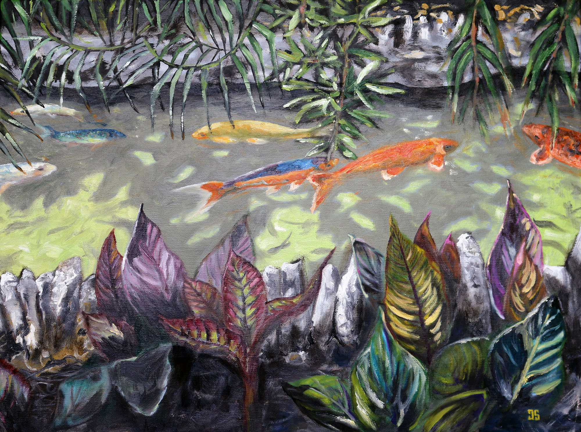 "Oil painting ""Japanese Tea Garden - Koi"" by Jeffrey Dale Starr"