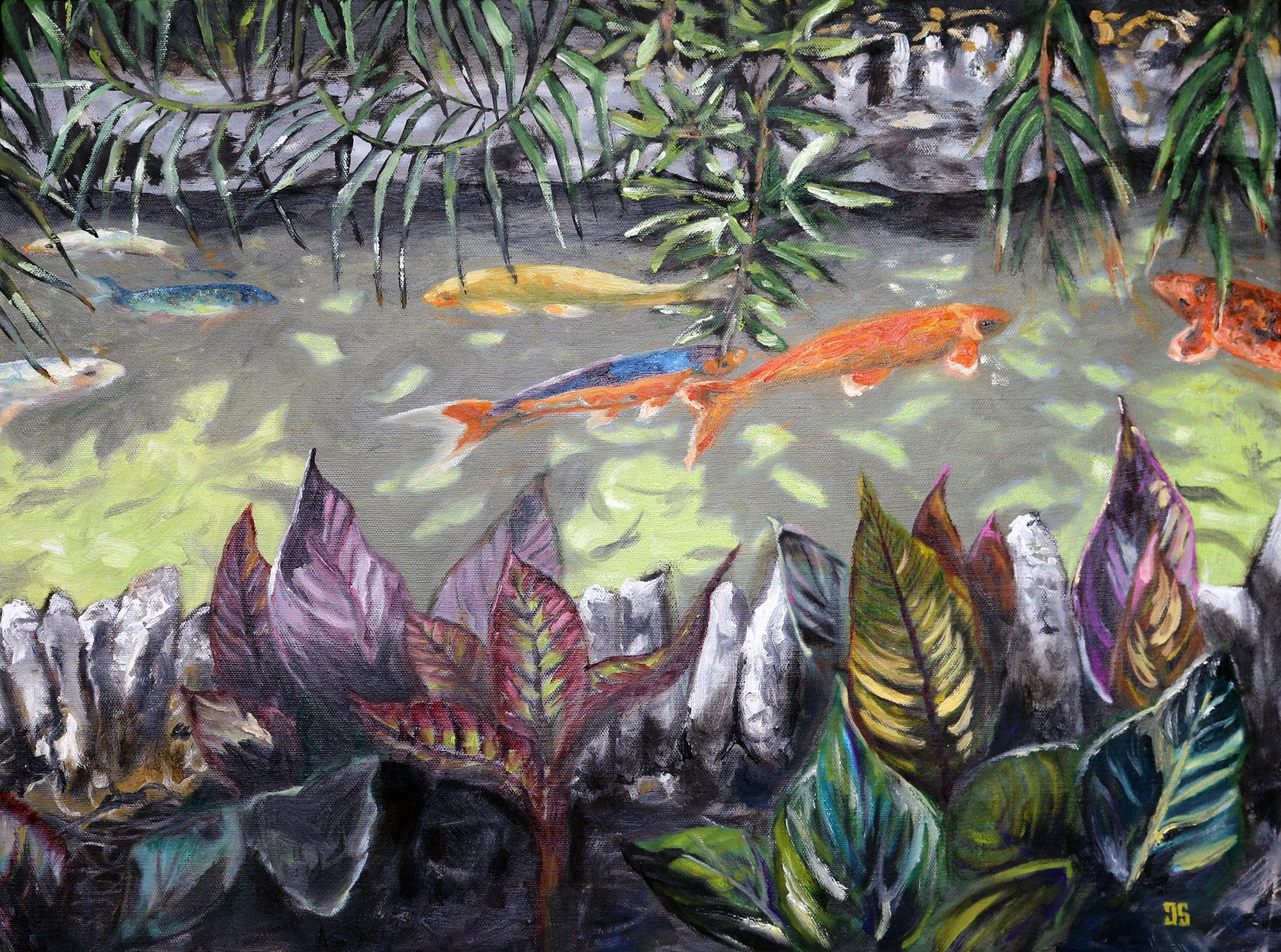 Oil Painting of koi in Japanese Tea Garden in San Antonio Texas by Jeffrey Dale Starr