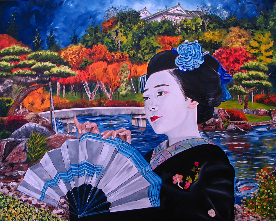 Oil Painting of Geisha Sensu Kimono Japan by Jeffrey Dale Starr