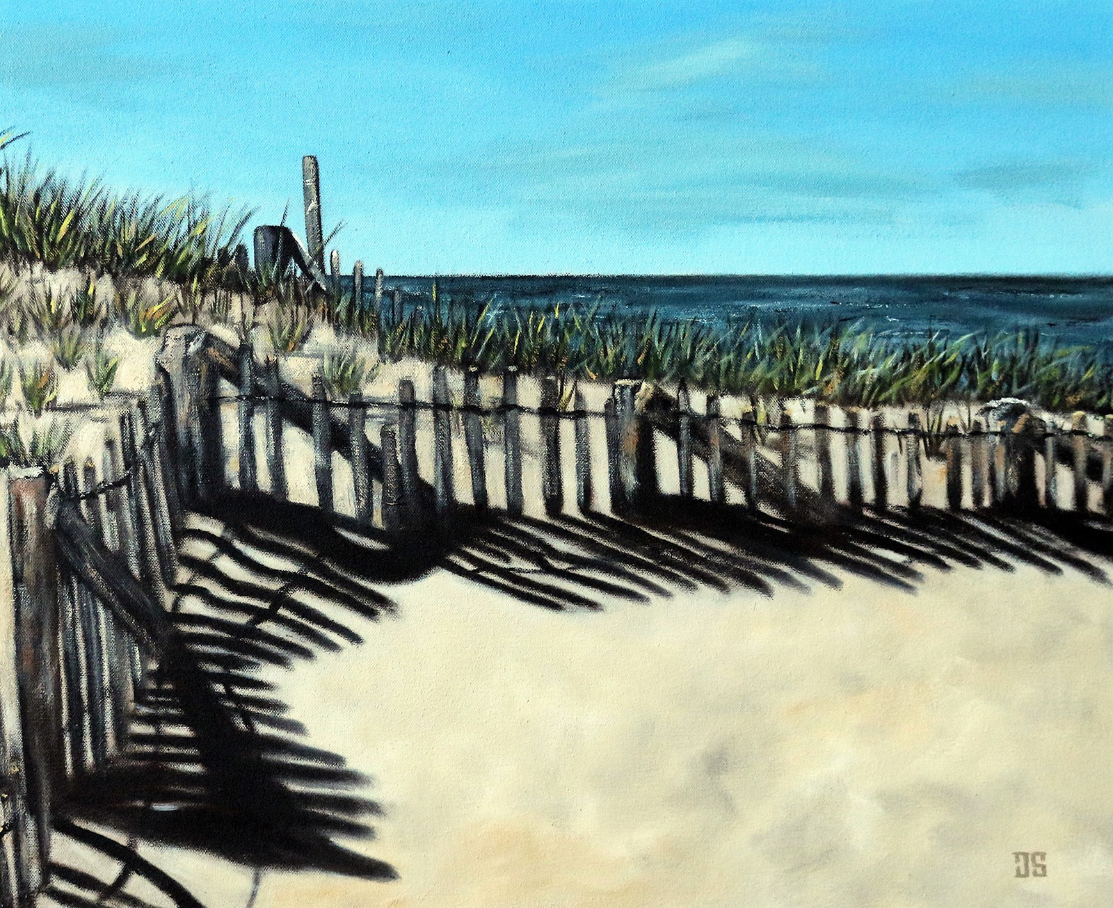 Oil Painting of Shadows on Race Point Beach Provincetown Cape Cod MA by Jeffrey Dale Starr