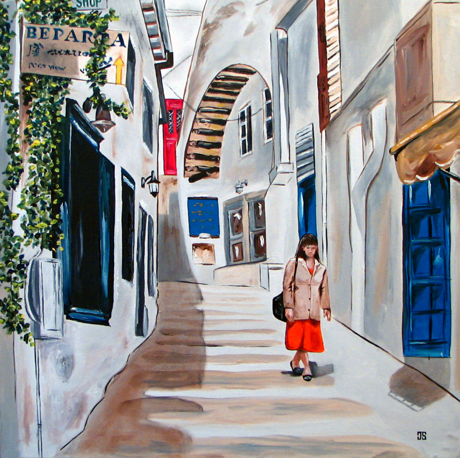 Oil Painting of Hydra Greece by Jeffrey Dale Starr