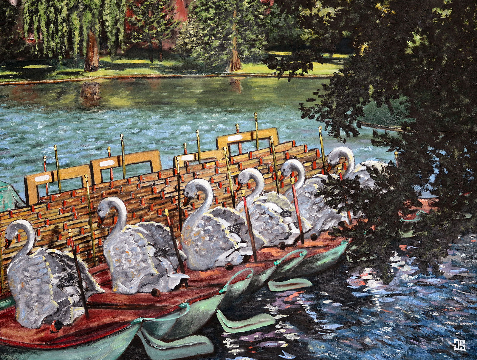 Oil Painting of swan boats in Boston Public Garden by Jeffrey Dale Starr