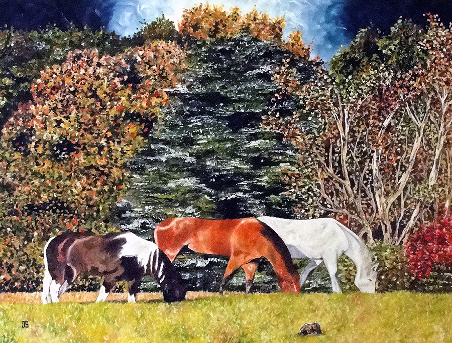 Oil Painting of Three Horses by Jeffrey Dale Starr
