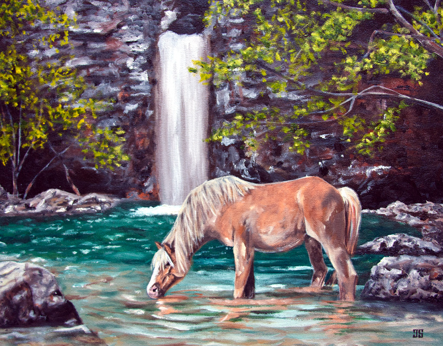 Oil Painting of Palomino horse Drinking Near Waterfall by Jeffrey Dale Starr