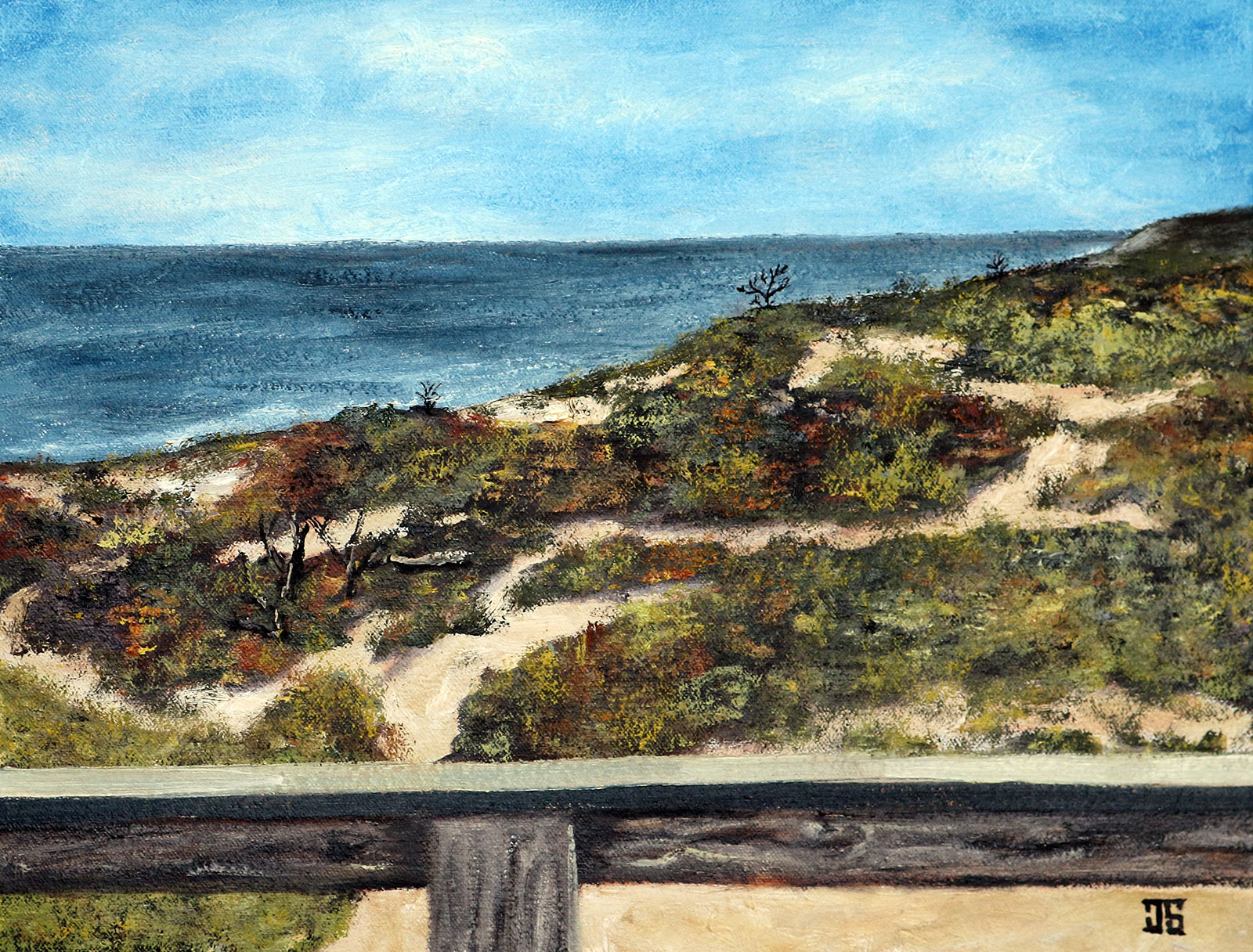Oil Painting of view of the Atlantic Ocean from Wellfleet on Cape Cod MA by Jeffrey Dale Starr