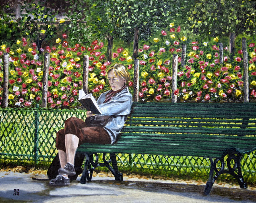 Oil Painting of Woman Reading in Parc Monceau in Paris by Jeffrey Dale Starr