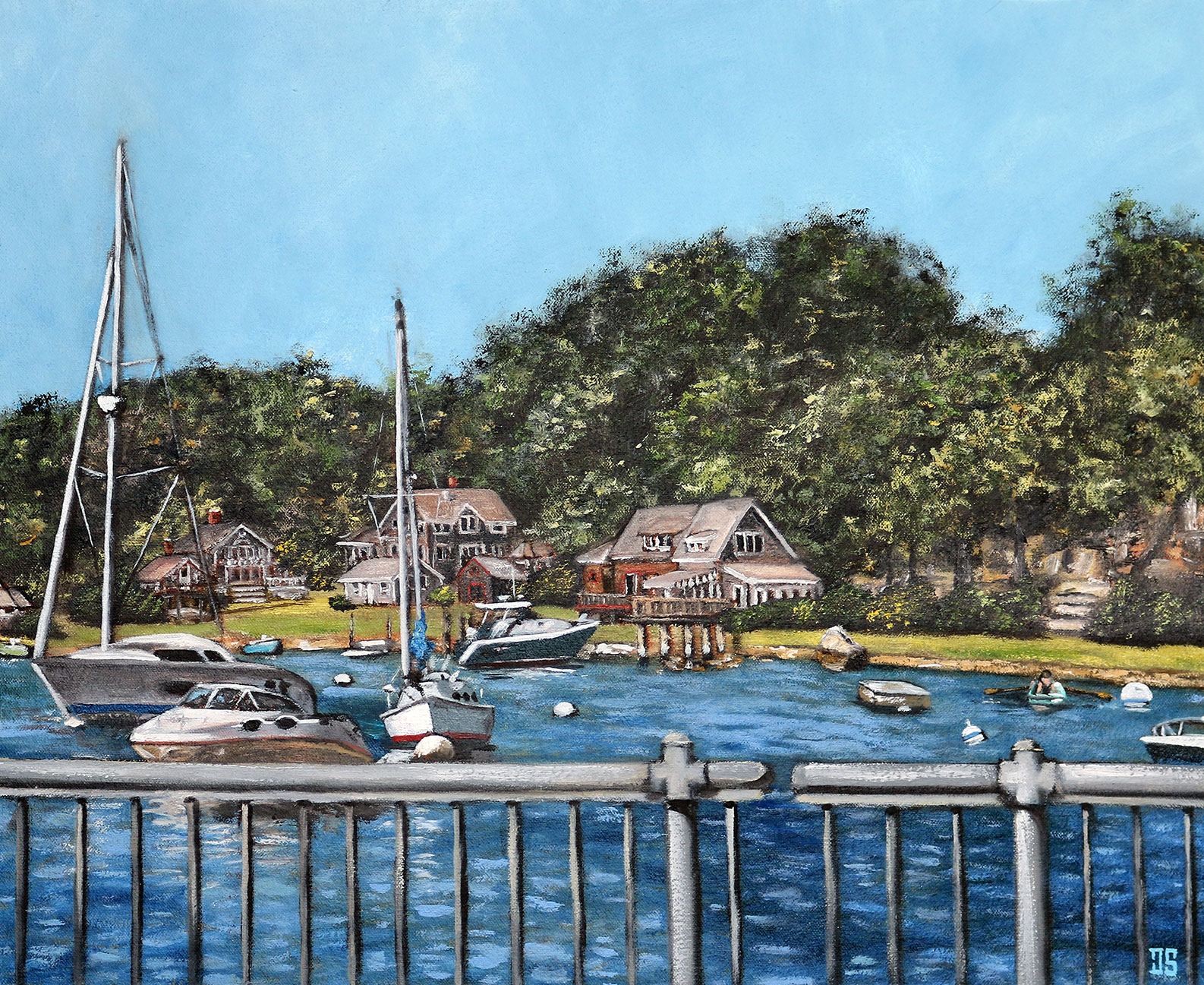 Oil Painting of Woods Hole view from the bridge on Cape Cod MA by Jeffrey Dale Starr