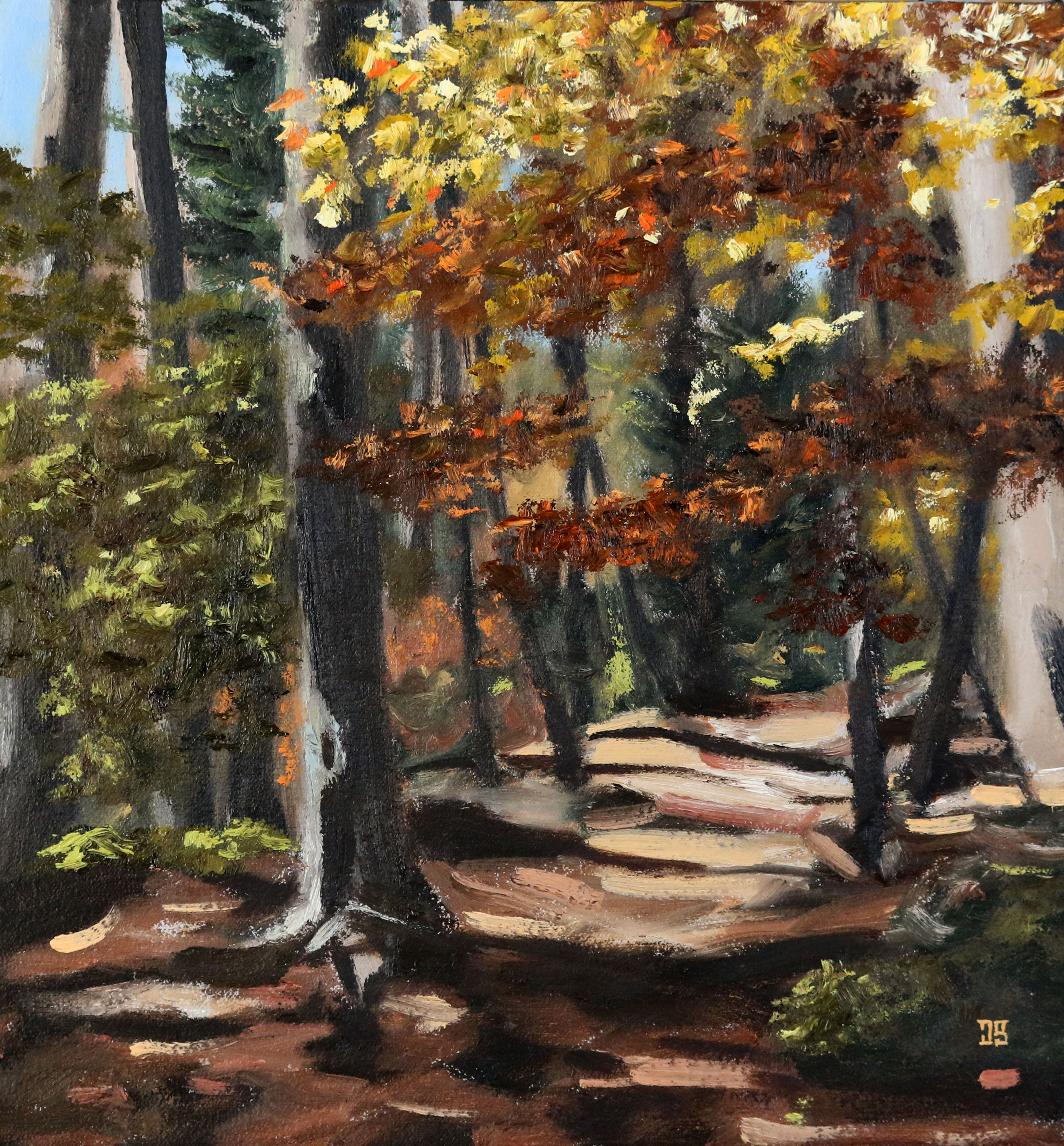 Oil painting of autumn trail in New Hampshire by American artist Jeffrey Dale Starr