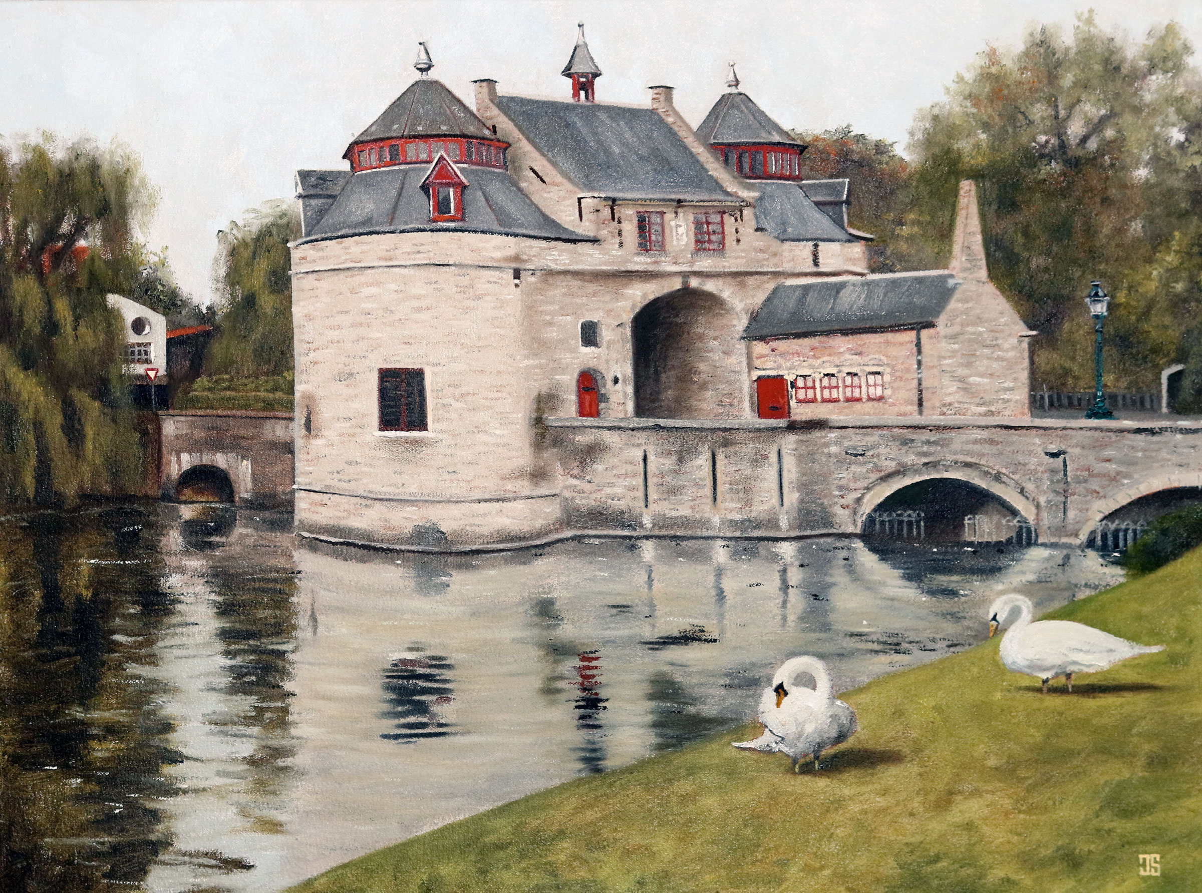 Oil painting of Blacksmiths Gate Smedenpoort Bruges by Jeffrey Dale Starr