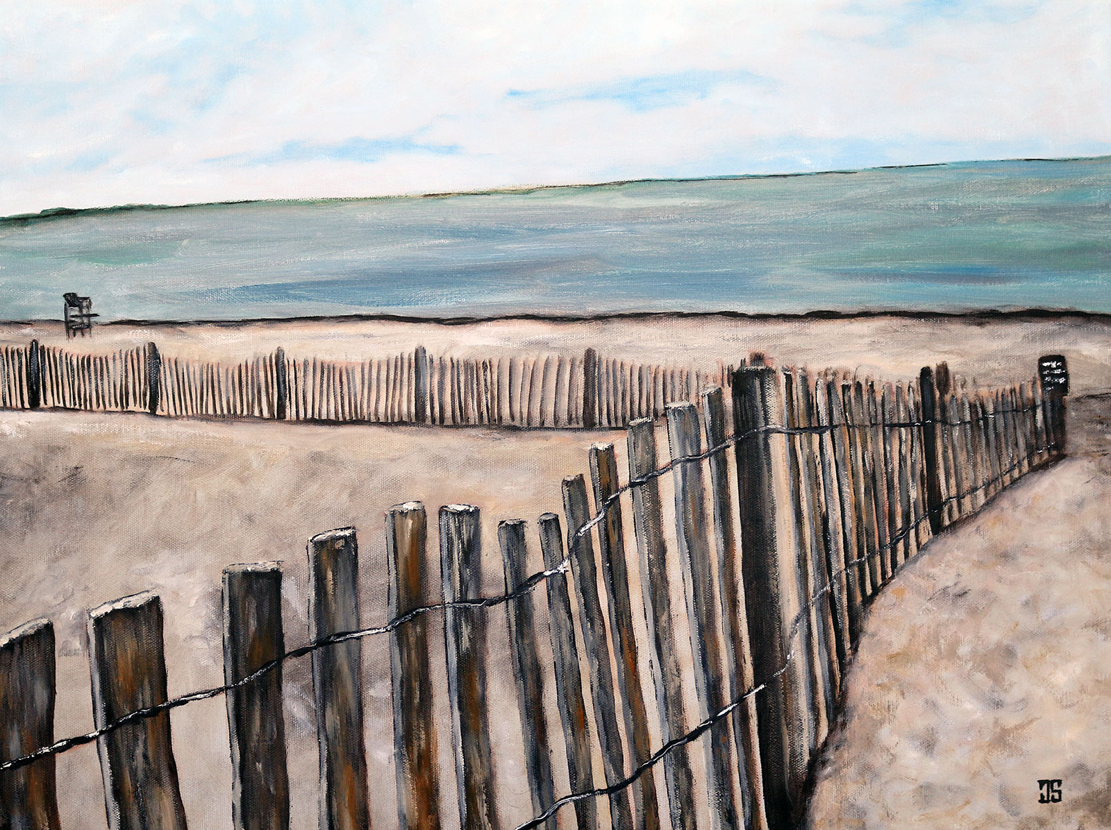 oil painting of before the season sandy neck beach on cape cod by american artist jeffrey dale starr