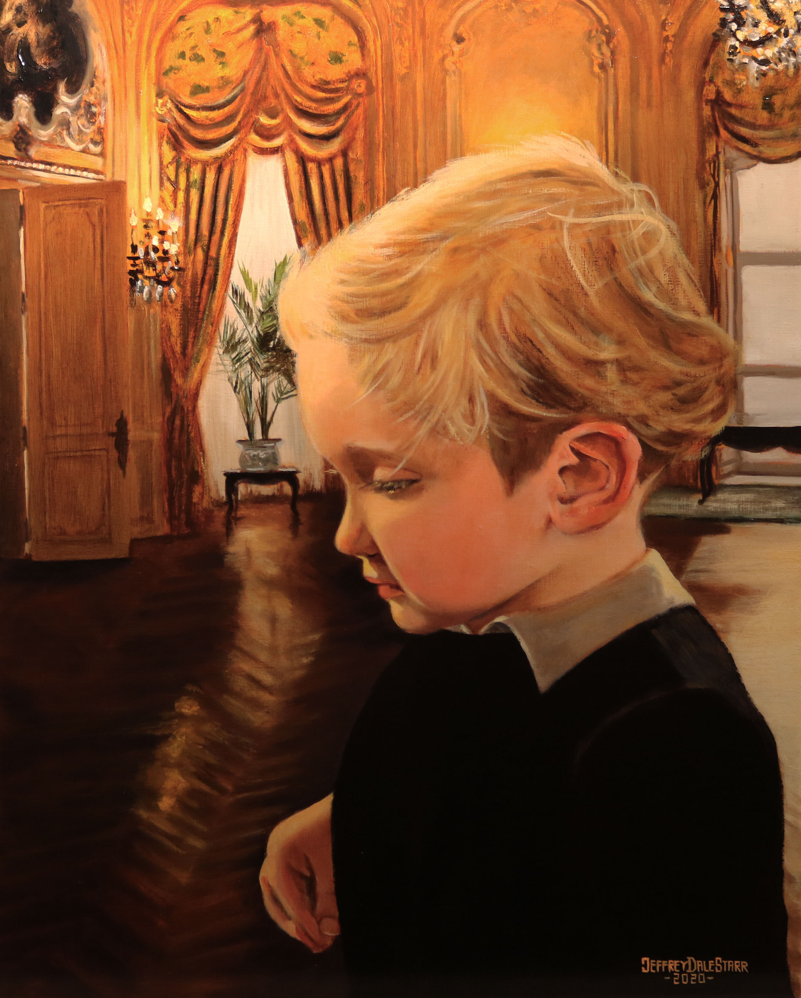 oil painting of booker lundell little lord fauntleroy by american artist jeffrey dale starr