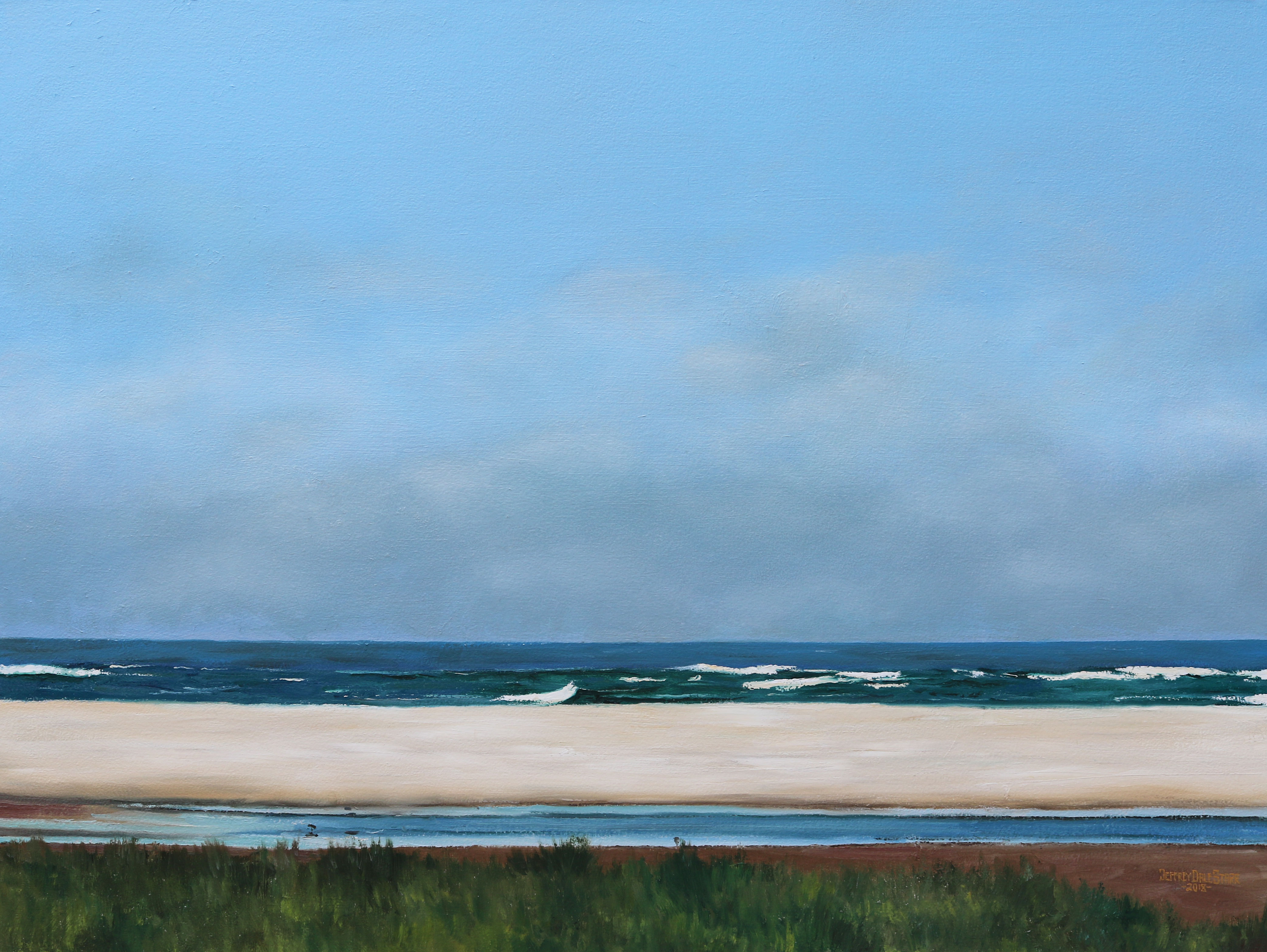 oil painting of chatham bars cape cod by jeffrey dale starr