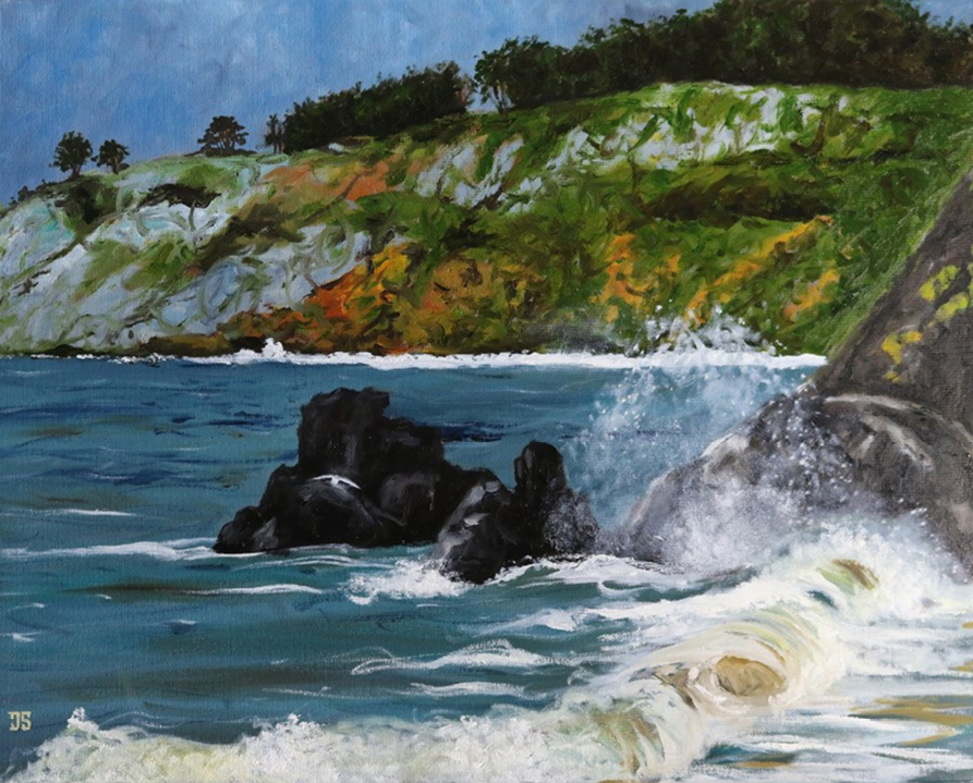 oil painting of china beach san francisco california by american artist jeffrey dale starr