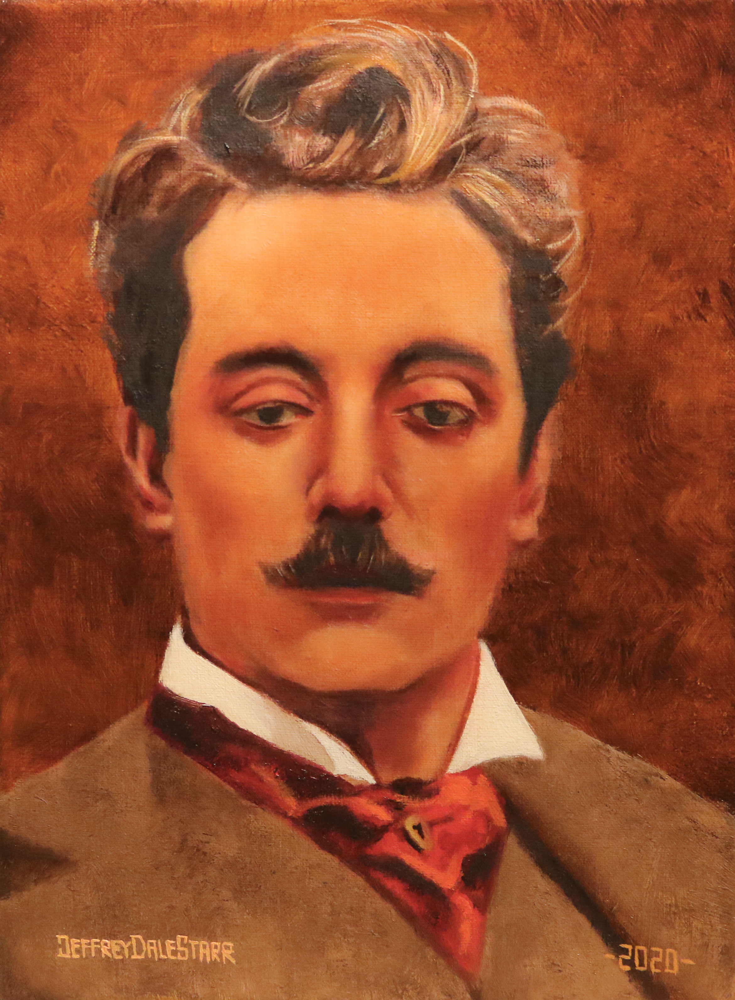 oil painting of giacomo puccini opera italy by american artist jeffrey dale starr