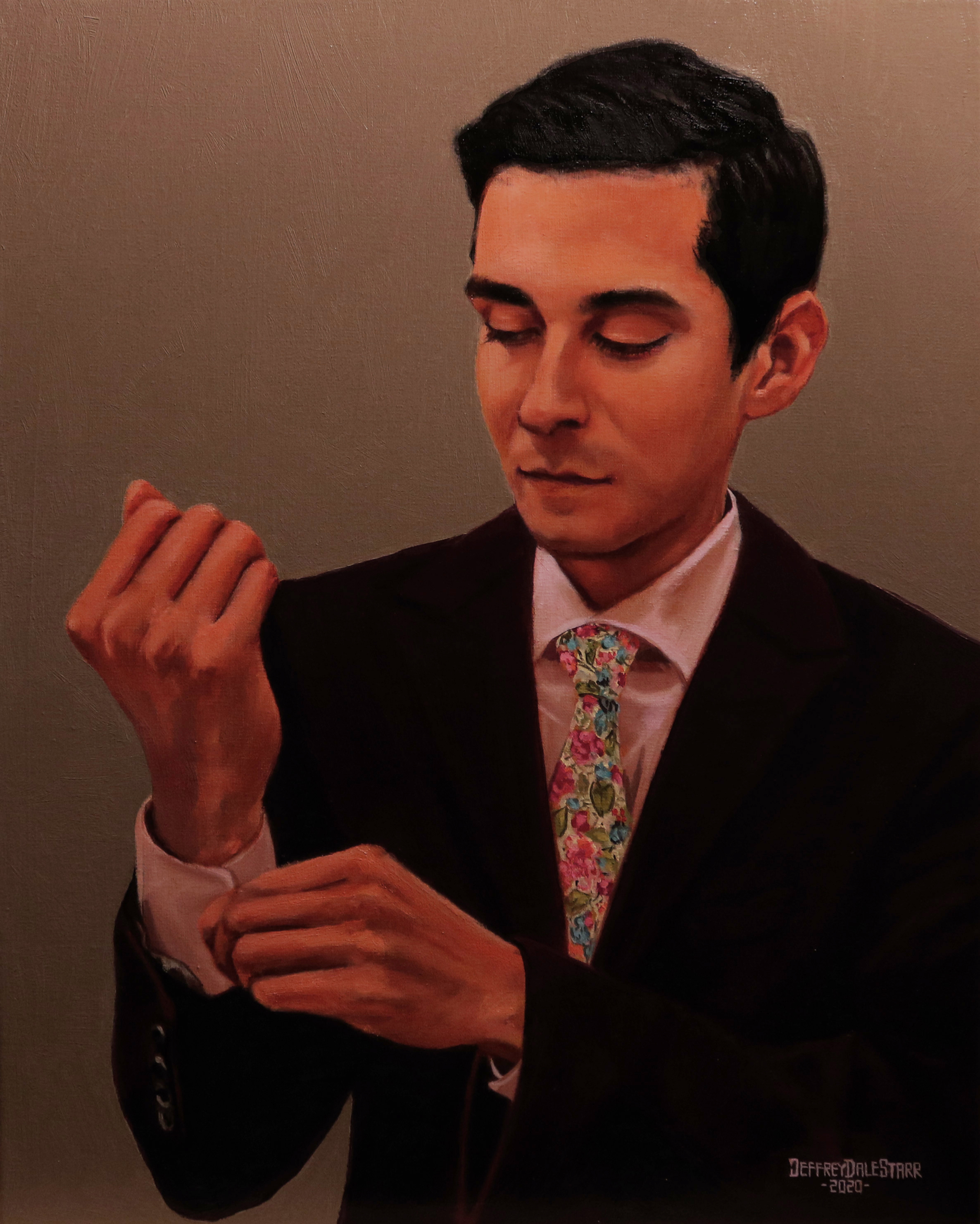 oil painting of jeremy marino by american artist jeffrey dale starr