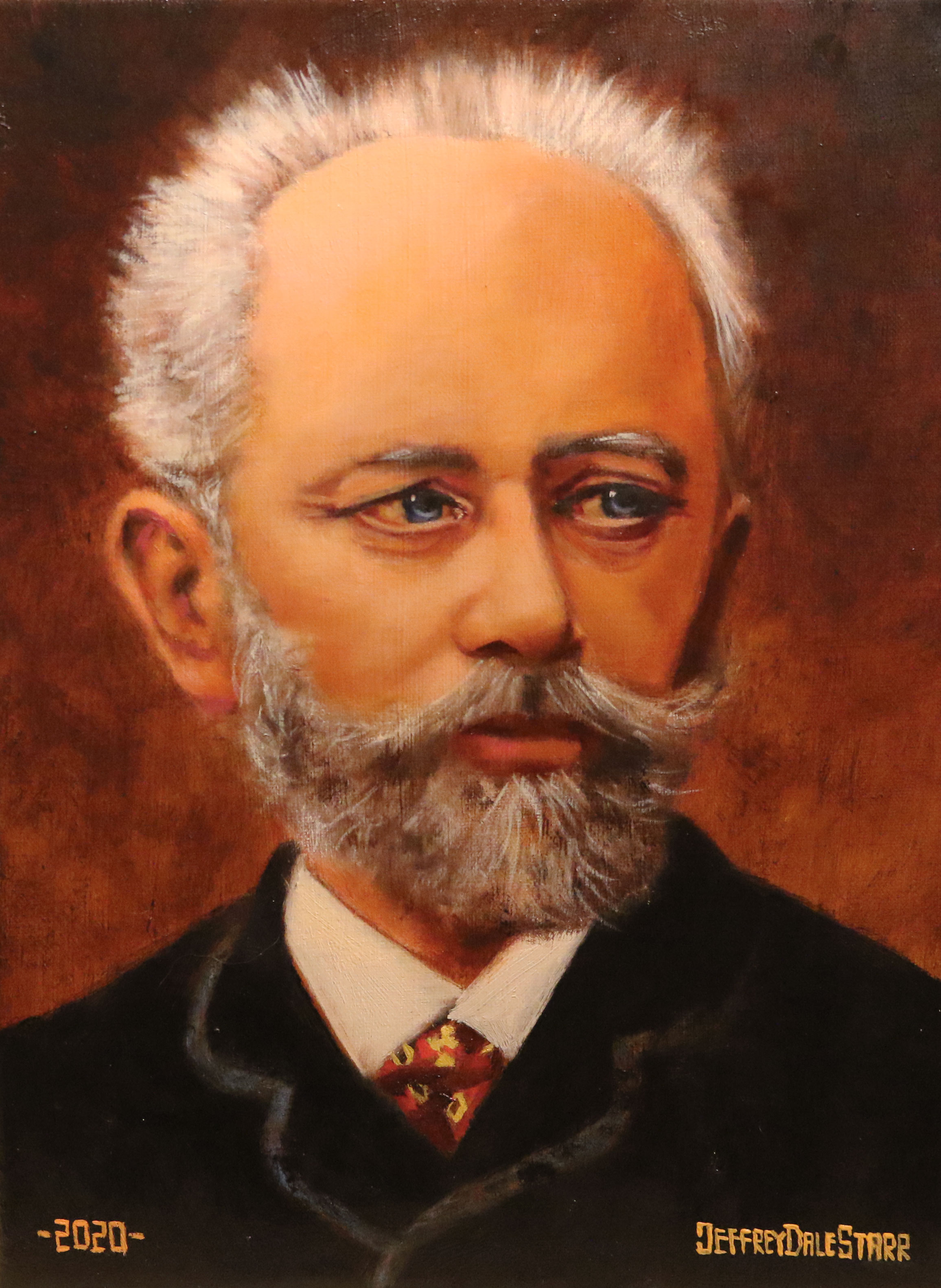 oil painting of pyotr tchaikovsky classical composer russia by american artist jeffrey dale starr