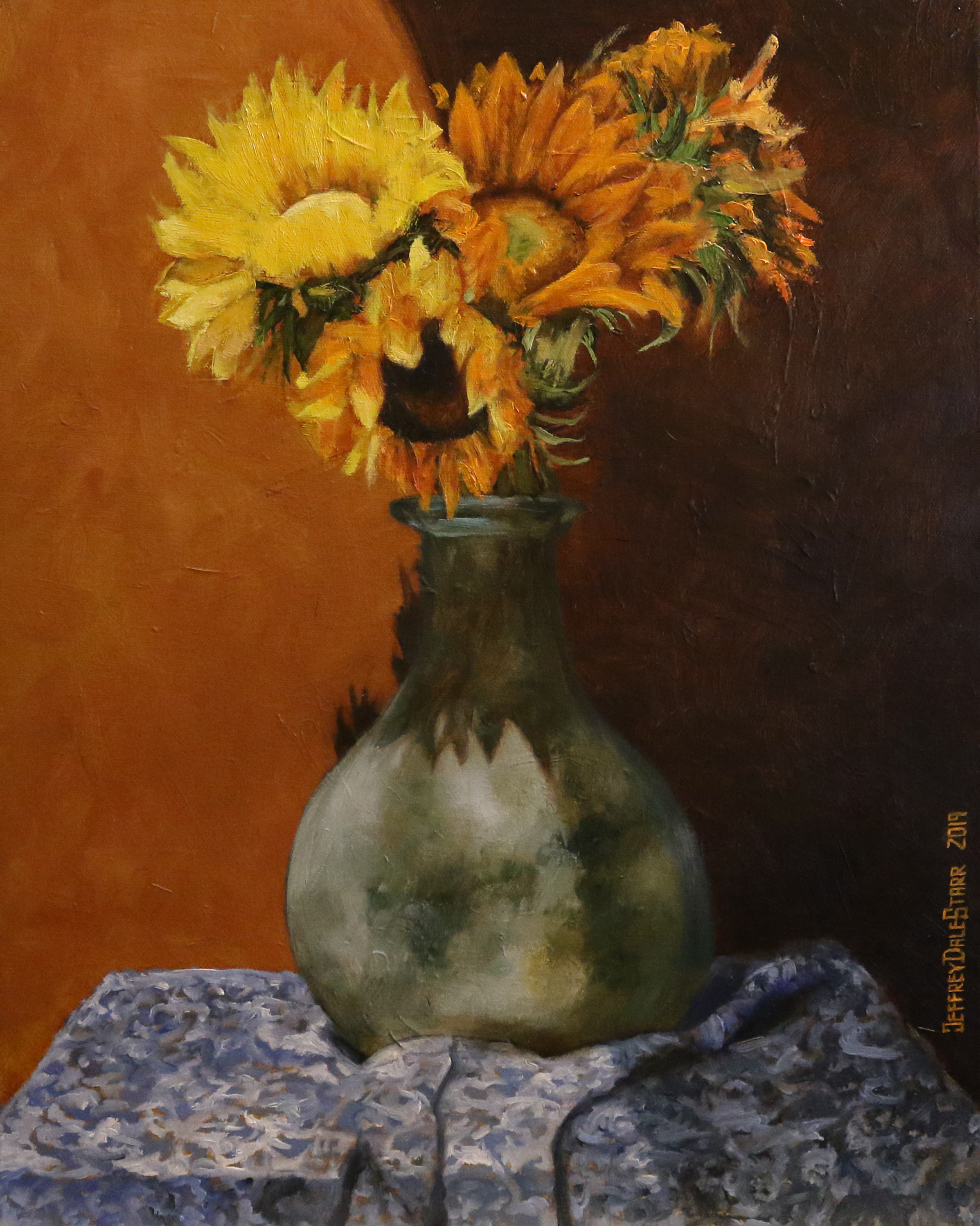 oil painting of the green vase sunflowers sunlight by american artist jeffrey dale starr