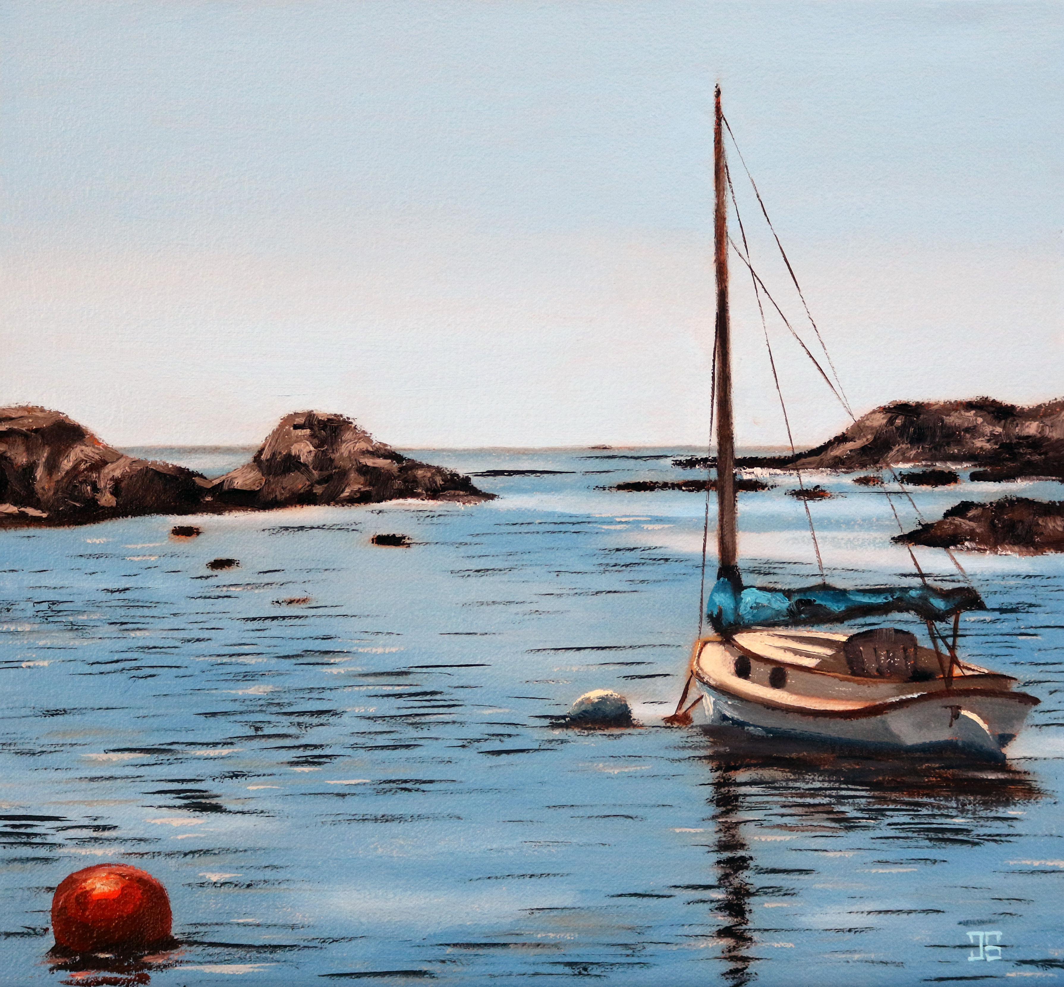 Oil painting of Newport sailboat by American artist Jeffrey Dale Starr