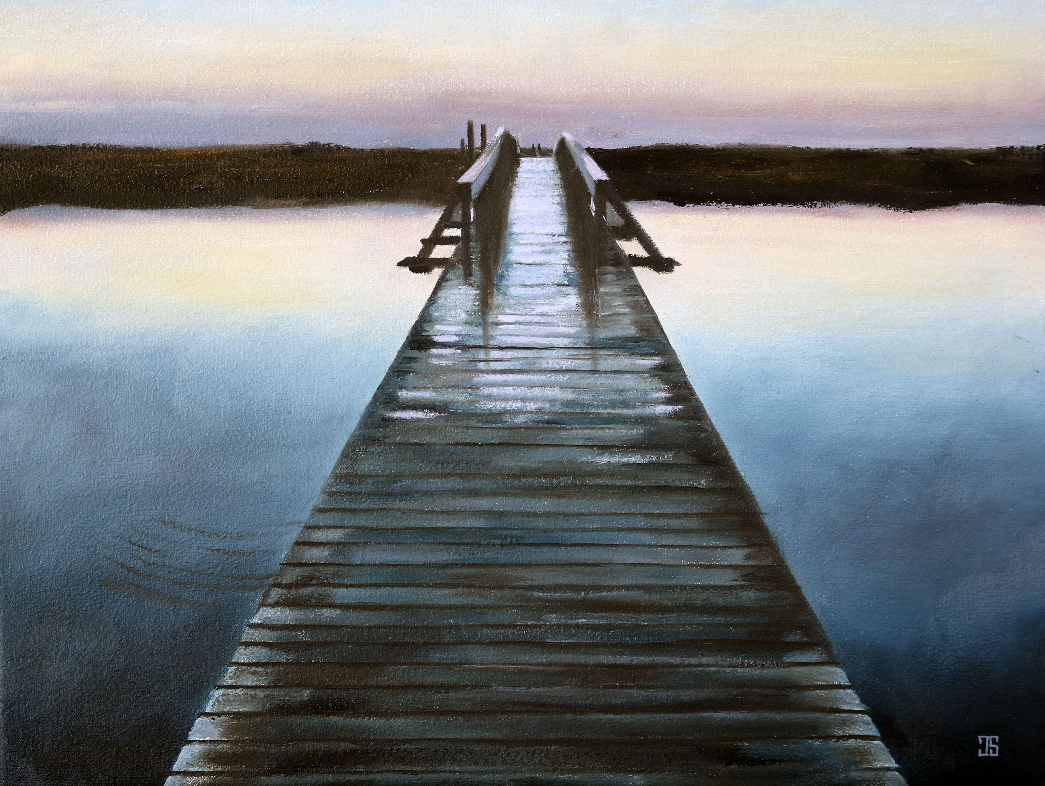 Oil Painting Of Sandwich Boardwalk At Dawn Cape Cod Ma By American Artist Jeffrey Dale Starr