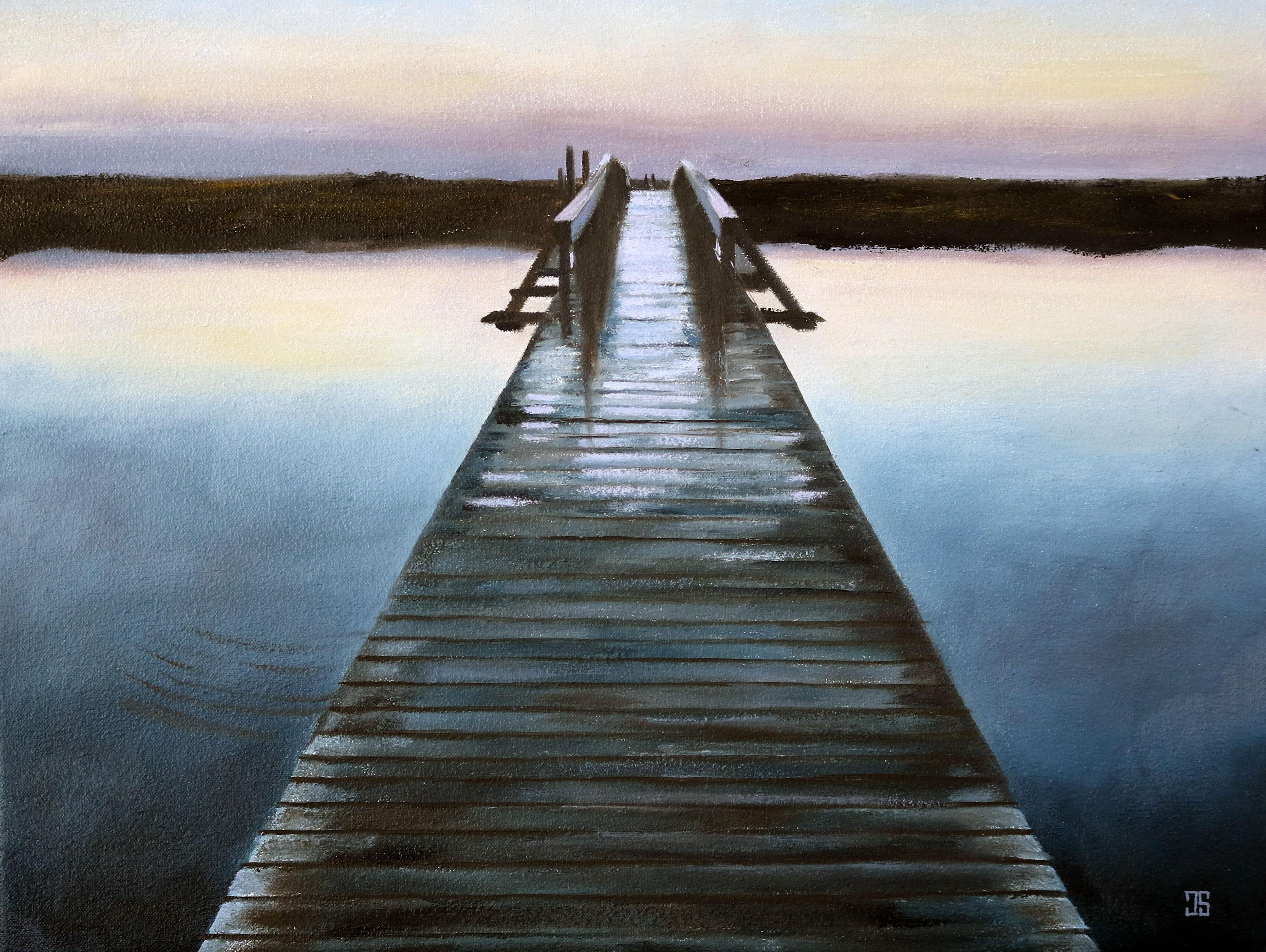 Oil painting of Sandwich Boardwalk at dawn Cape Cod MA by American artist Jeffrey Dale Starr